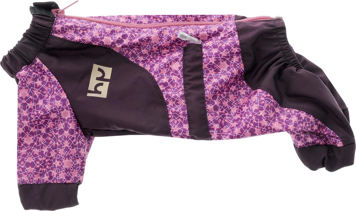 Комбинезон для собак Happy Puppy Звездочка, для девочки, цвет: фиолетовый, розовый. Размер 1 (S)HP-150016-1_фиолетовыйКомбинезон для собак Happy Puppy Звездочка отлично подойдет для прогулок. Комбинезон изготовлен из полиэстера, защищающего от ветра и осадков. Комбинезон застегивается на молнию и липучку, благодаря чему его легко надевать и снимать. Ворот, низ рукавов и брючин оснащены внутренними резинками, которые мягко обхватывают шею и лапки, не позволяя просачиваться холодному воздуху. На пояснице комбинезон затягивается на шнурок-кулиску. Благодаря такому комбинезону простуда не грозит вашему питомцу, и он не даст любимцу продрогнуть на прогулке.