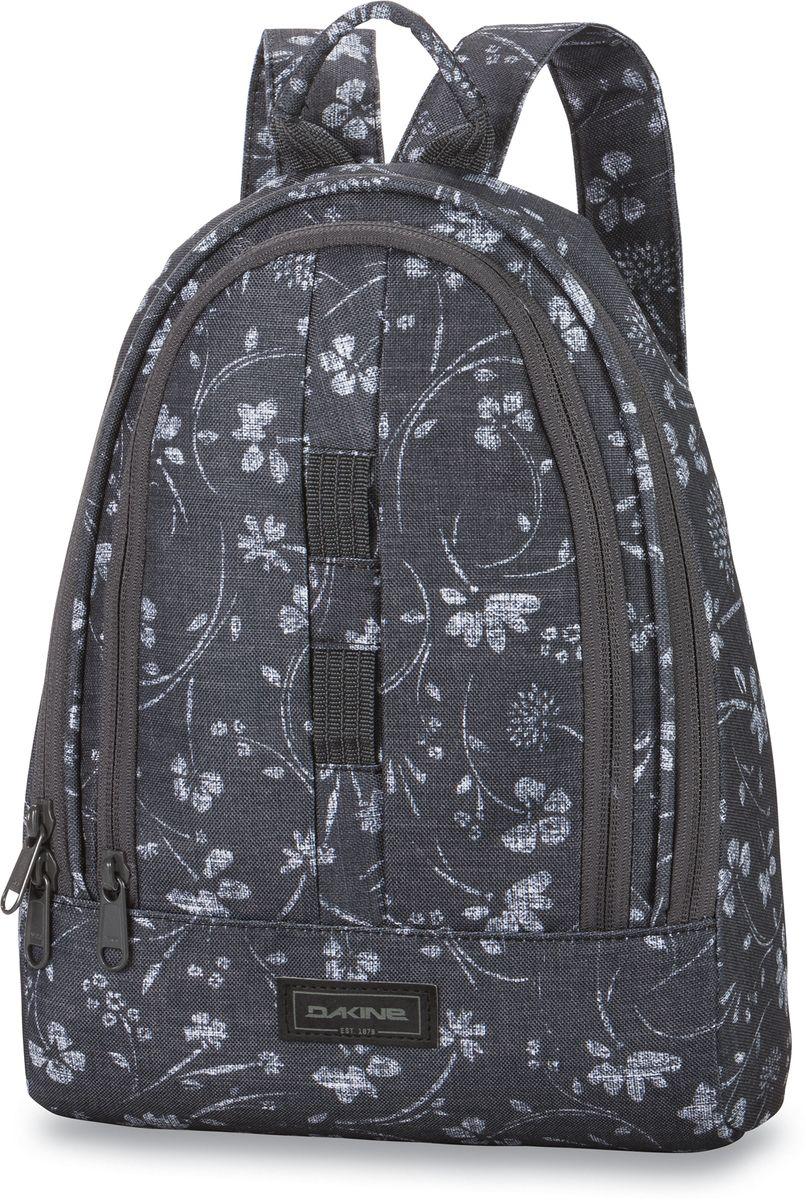 Рюкзак женский Dakine Cosmo, цвет: темно-серый, 6,5 лH009Небольшой городской женский рюкзак Dakine Cosmo - стильная и необходимая вещь в городе или поездке. В него влезет все необходимое - бутылка воды, книжка, косметичка, фотоаппарат. Небольшой, но емкий будет отлично выглядеть как с джинсами, так и с платьем. Помимо основного отделения имеет фронтальный карман-органайзер на молнии.Модель дополнена карабином для ключей и петлей для подвешивания ранца. Широкие плечевые лямки регулируются по длине.