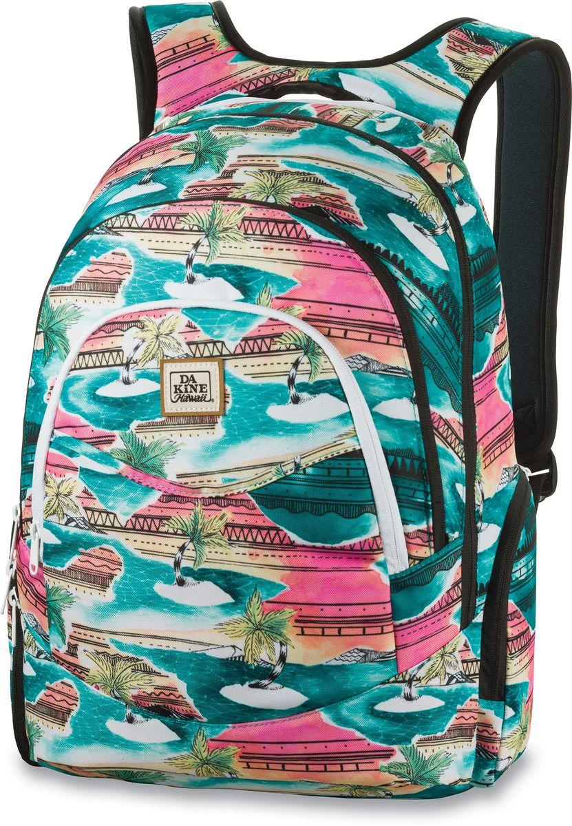 Рюкзак женский Dakine Prom, цвет: бирюзовый, мультицвет, 25 лH009Рюкзак Dakine Prom - самый популярный женский городской рюкзак. Отлично подойдет для учебы, работы, отдыха и спорта.Имеет усиленный карман для ноутбука в основном отделении, карман-органайзер, вкотором вы с легкостью сможете найти в нем сотовый телефон, MP3-плеер или ручку, карман для очков с флисовой подкладкой.В кармане-кулере можно сохранить фрукты, напитки или завтрак холодными и свежими в течение всего дня. По бокам расположены карманы на молнии, один из которых подходит для напитков.Изделие оснащено усиленным отделением для ноутбука на молнии, который подходит для моделей, имеющих диагональ экрана 15.