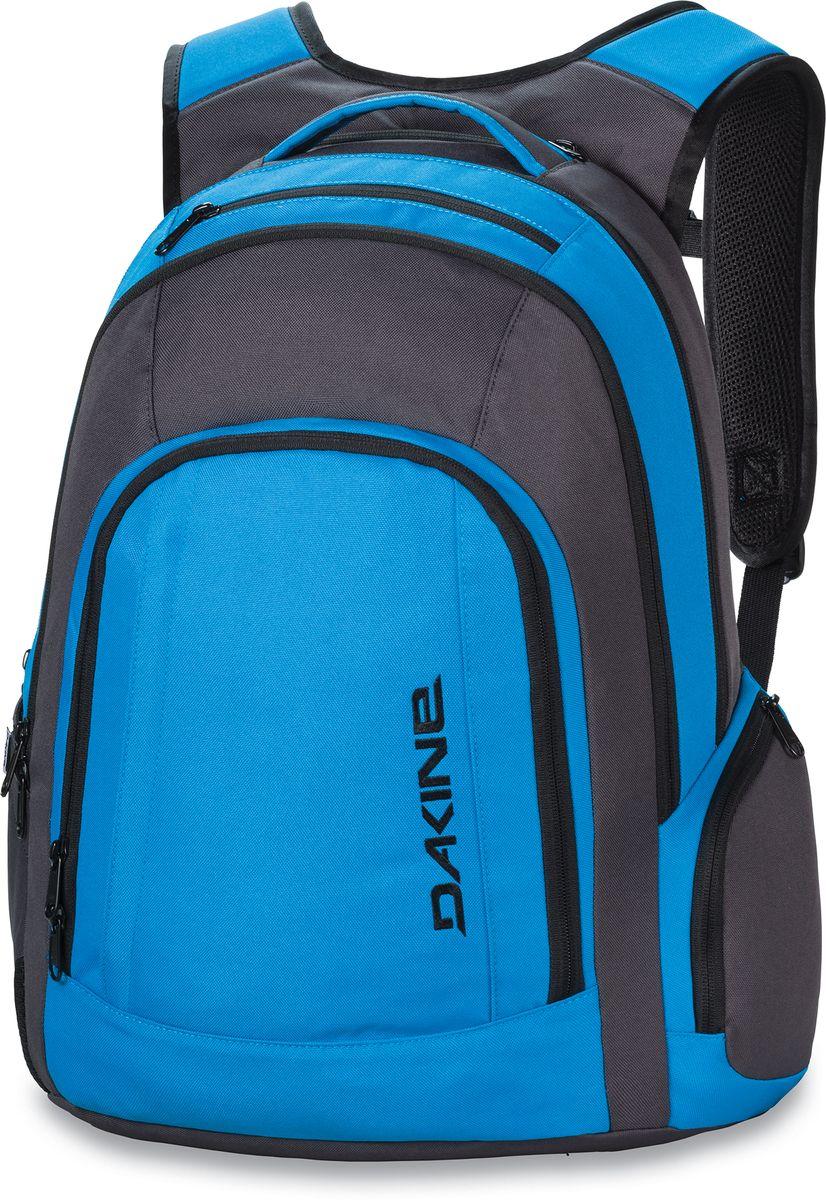 Рюкзак городской Dakine 101 Blue, цвет: синий, 29 л. 813003000126972 8130030Городской рюкзак. С отделением для ноутбука (до 15). два больших отделения. В основном отделении карман для IPad. Карман-органайзер. Два боковых кармана на молнии, карман для солнцезащитных очков. Секретный карман в спинке рюкзака.