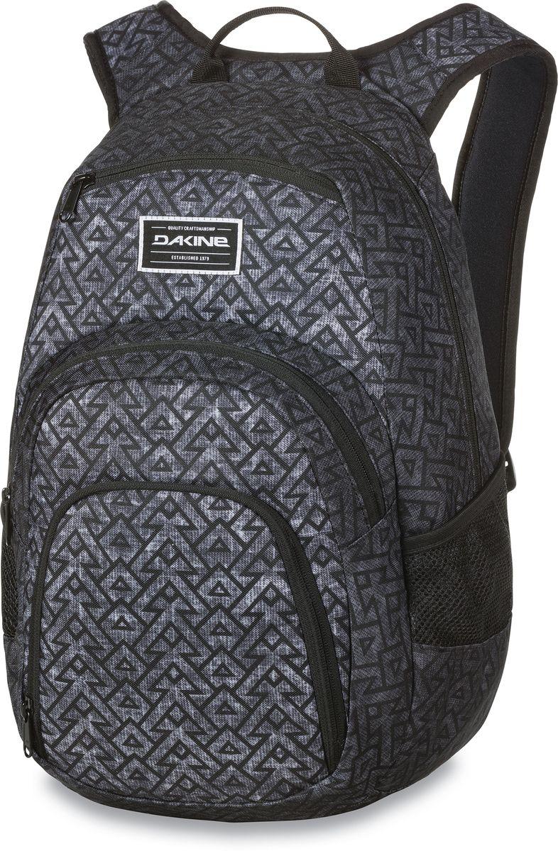 Рюкзак городской Dakine Campus, цвет: темно-серый, серый, 25 лGD7372-blackГородской рюкзак Dakine Campus выполнен из высококачественного полиэстера. Модель прекрасно подходит для активной жизни в городской черте.Особенности рюкзака: - есть специальный карман для ноутбука,- встроенный карман с термоизоляцией для еды и напитков,- карман-органайзер с отверстием для наушников, - флисовый карман для очков,- боковые карманы-сетки,- регулируемый нагрудный ремешок,- воздухопроницаемые наплечные ремни,- объемные складывающиеся карманы позволяют хранить отдельно вещи.