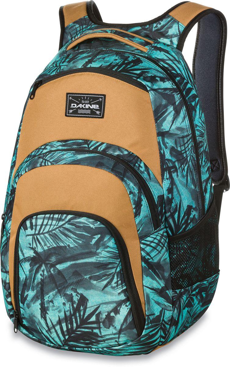Рюкзак городской Dakine Campus Painted Palm, цвет: бирюзовый, 33 л. 813005700127033 8130057Городской рюкзак с отделением для ноутбука ( до 15). Карман-органайзер, карман-термос, карман-сетка снаружи. Карман для очков из мягкого флиса.
