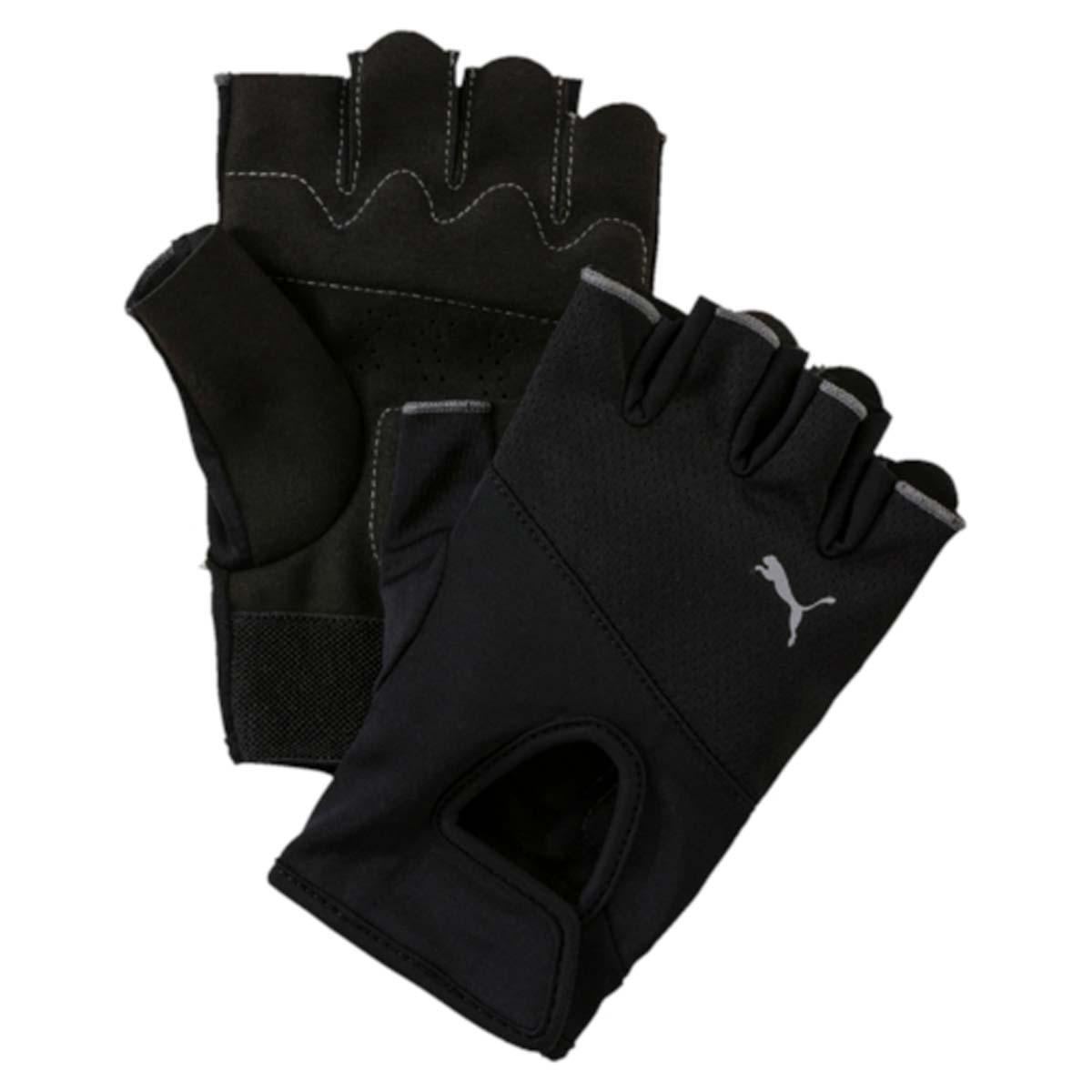 Перчатки для фитнеса Puma Tr Gloves, цвет: черный. 04129501. Размер L (10)04129501Перчатки Puma Tr Gloves предназначены для защиты рук во время занятия спортом. Мягкий верх на основе современного высокотехнологичного полиэстера и нейлона оснащен уплотненными подушечками на ладони для максимального комфорта. У модели рукоятки из тесьмы со вставками для ладоней, нескользящие вставки для комфорта, долговечности и удобства захвата. Регулируемая застежка-липучка для оптимальной поддержки.