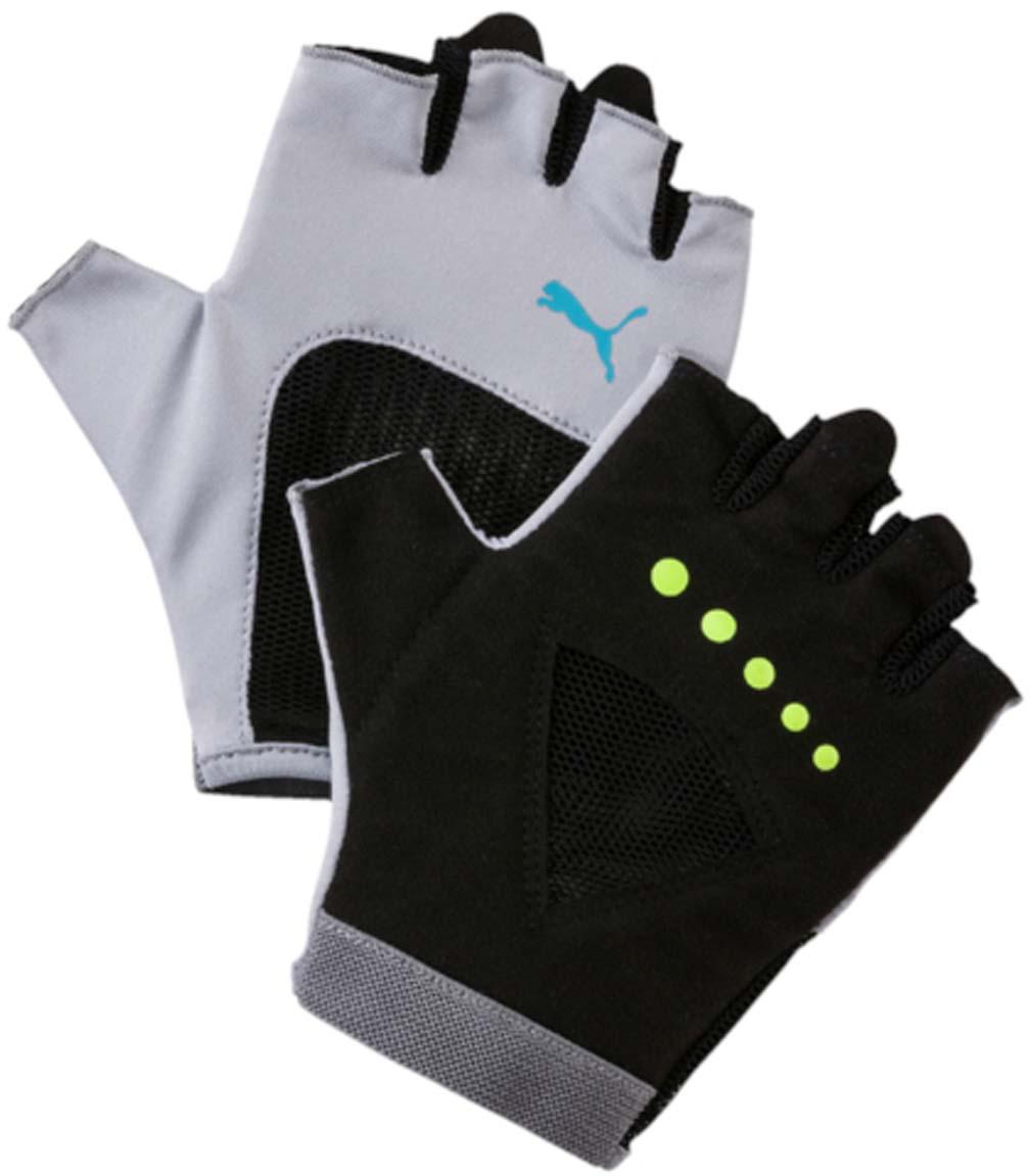 Перчатки для фитнеса женские Puma Gym Gloves, цвет: светло-серый. 04126505. Размер M (9)40162Удобные и прочные перчатки из мягкой замши с набивкой на ладони и большом пальце. Эластичная сетчатая ткань на ладони обеспечивает хорошую посадку и вентиляцию. Силиконовый точечный принт улучшает сцепление. Цветной логотип Puma на тыльной стороне ладони.