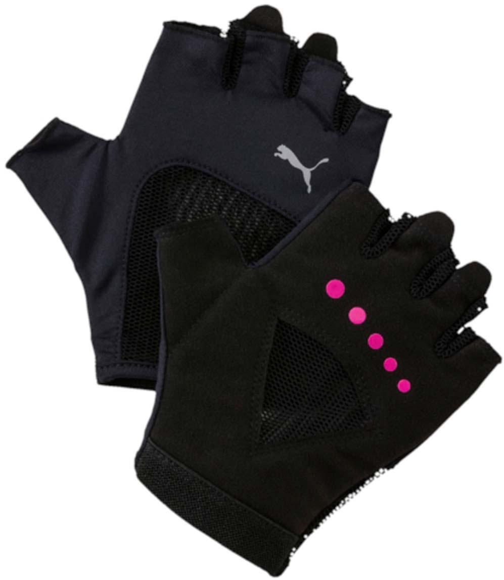 Перчатки для фитнеса женские Puma Gym Gloves, цвет: черный. 04126504. Размер M (9)40162Удобные и прочные перчатки из мягкой замши с набивкой на ладони и большом пальце. Благодаря эластичной манжете перчатки удобно снимать и надевать. Эластичная сетчатая ткань на ладони обеспечивает хорошую посадку и вентиляцию. Силиконовый точечный принт улучшает сцепление. Цветной логотип Puma на тыльной стороне ладони.