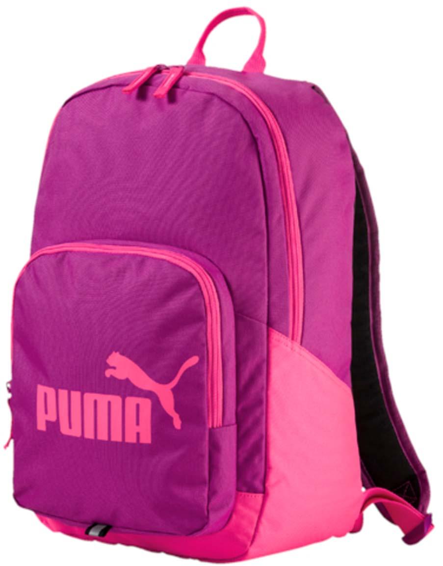 Рюкзак Puma Phase Backpack, цвет: розовый. 0735891507358915Рюкзак Puma выполнен из текстиля. Модель с одним отделением. Передняя стенка оформлена объемным карманом на молнии. Рюкзак оснащен регулируемыми по длине плечевыми лямками и петлей для подвешивания.