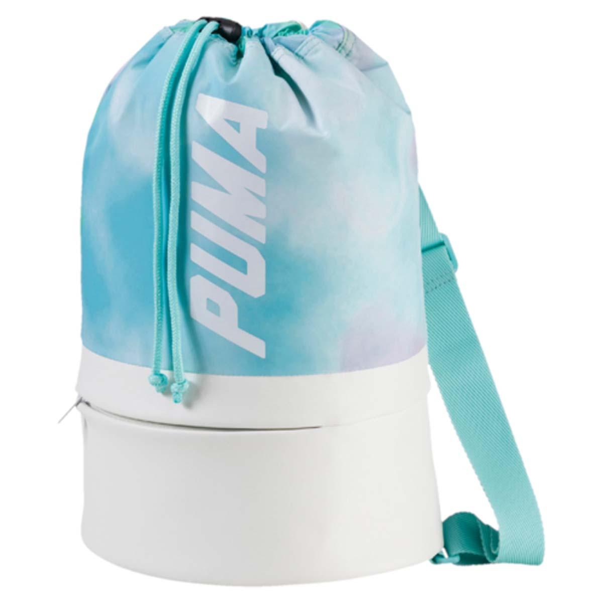 Рюкзак женский Puma Prime Bucket Bag P, цвет: белый, бирюзовый. 0745560207455602Рюкзак Puma выполнен из текстиля. Модель с одним отделением, застегивается при помощи затягивающегося шнурка. Рюкзак оснащен регулируемыми по длине тонкими плечевыми лямками.