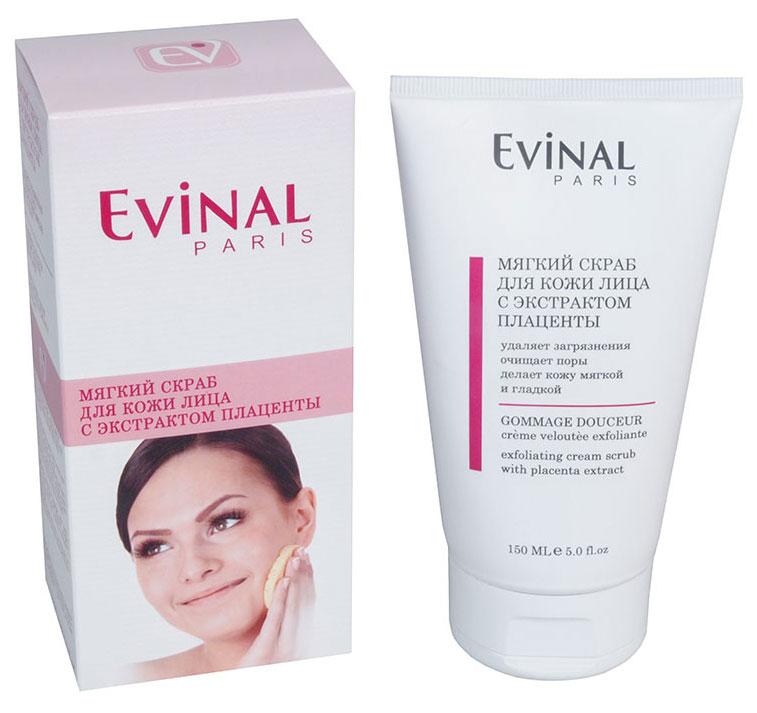 Скраб для кожи лица Evinal с экстрактом плаценты, 150 мл72523WDНежный скраб Evinal удаляет загрязнения и отмершие клетки с поверхности кожи, не высушивая ее. Эффективно очищает поры, делая кожу мягкой, гладкой и естественно сияющей. Мягко отшелушивает мертвые клетки кожи, делает ее нежной и шелковистой, улучшает цвет лица. Характеристики: Объем: 150 мл. Производитель: Россия. Артикул: 0387. Товар сертифицирован.