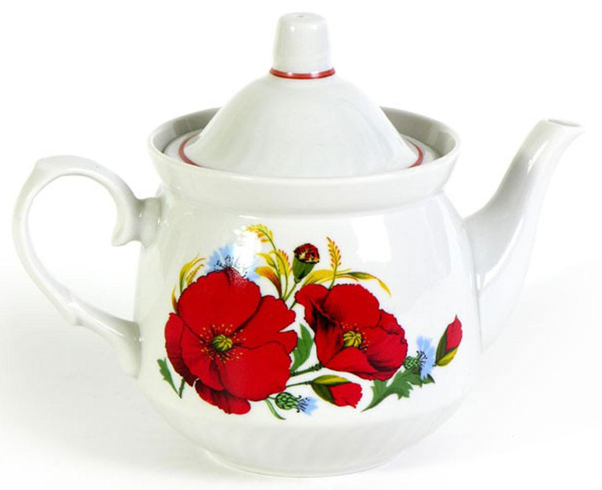 Чайник заварочный Кирмаш. Маки красные, 550 мл507842Заварочный чайник Кирмаш. Маки красные изготовлен из высококачественного фарфора. Посуда оформлена ярким рисунком. Такой чайник идеально подойдет для заваривания чая. Он хорошо держит температуру, что способствует более полному раскрытию цвета, аромата и вкуса чайного букета. Изделие прекрасно дополнит сервировку стола к чаепитию и станет его неизменным атрибутом. Объем: 550 мл. Диаметр (по верхнему краю): 9,6 см. Диаметр основания: 6,2 см. Высота чайника (без учета крышки): 10 см.