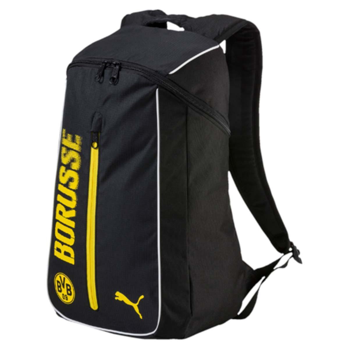 Рюкзак Puma Bvb Fanwear Backpack, цвет: черный. 0746220107462201Рюкзак Puma выполнен из текстиля. У модели одно основное отделение. Передний карман на молнии. Рюкзак с регулируемыми по длине плечевыми лямками и петлей для подвешивания.