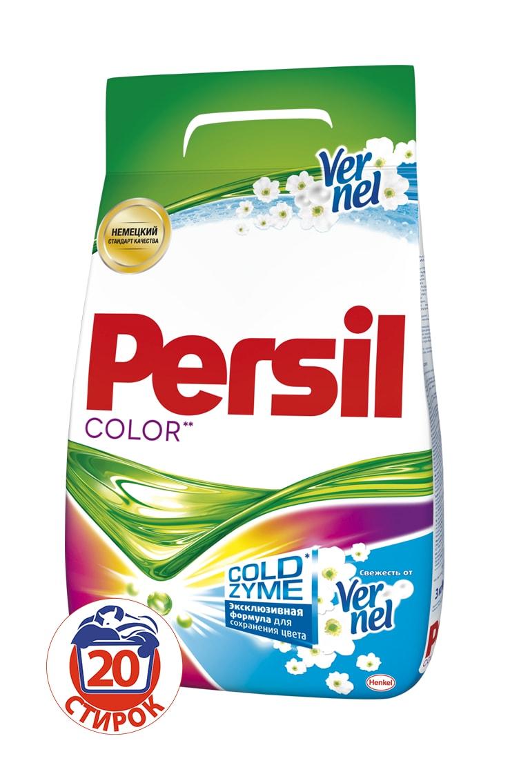 Стиральный порошок Persil Колор Свежесть от Vernel 3кг790009Persil Color - стиральный порошок с сильной формулой, которая содержит активные капсулы пятновыводителя. Капсулы пятновыводителя быстро растворяются в воде и начинают действовать на пятно уже в самом начале стирки. Благодаря специальной формуле Persil Color отлично удаляет даже сложные пятна, а специальные цветозащитные компоненты сохраняют яркие цвета ткани. Persil Color для безупречной чистоты Вашего белья. В состав Persil Color также входят Жемчужины свежего аромата от Vernel – микрокапсулы, содержащие внутри отдушку. Во время стирки Жемчужины закрепляются на ткани и высвобождают свой аромат при каждом движении или прикосновении.Состав: 5-15% анионные ПАВ; Товар сертифицирован.
