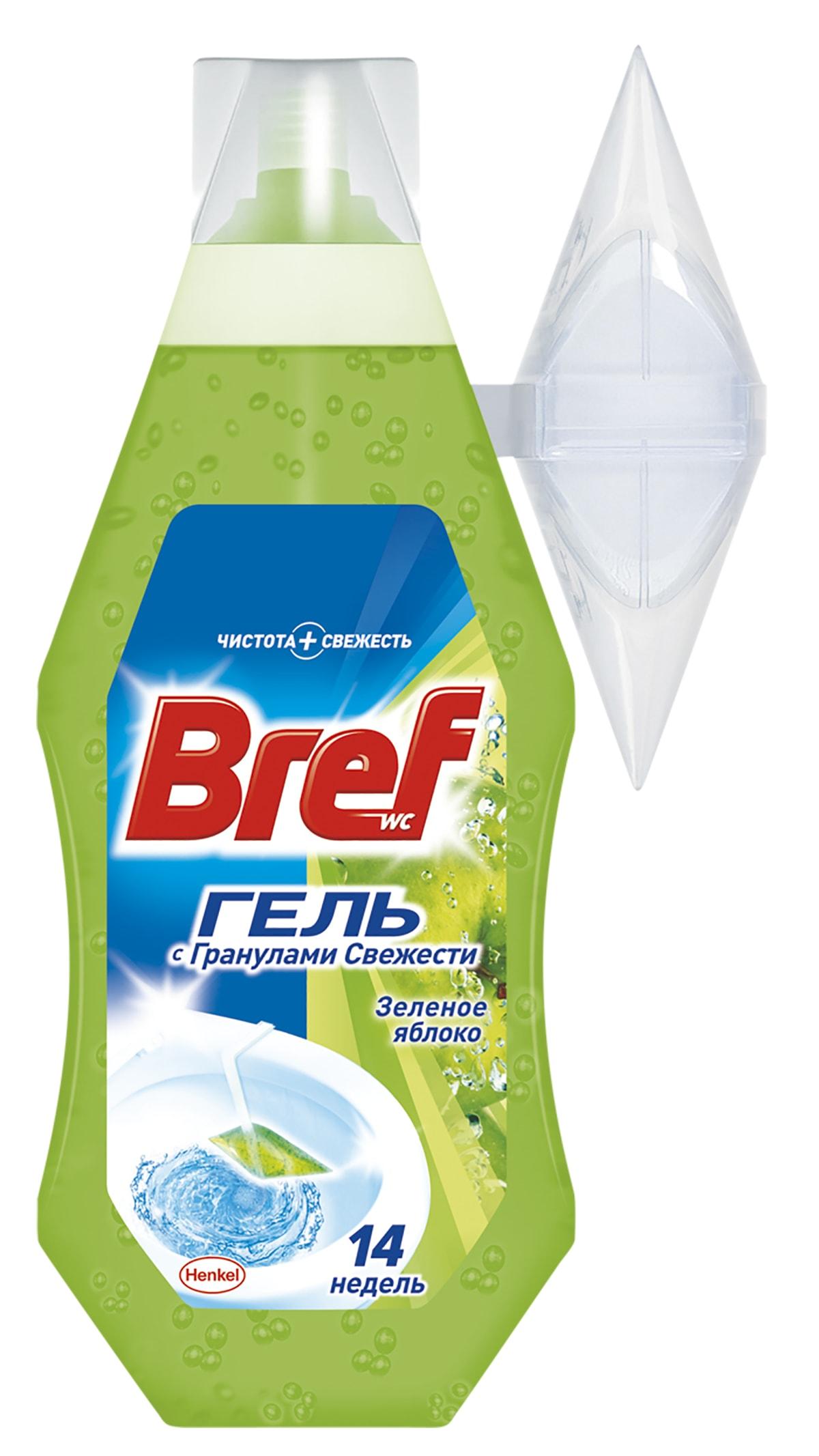 Освежитель для туалета Bref Гель Зеленое Яблоко 360мл904631Освежитель для туалета Bref Гель обеспечивает чистоту и превосходный свежий аромат после каждого смывания. Упаковки Bref Гель 360мл хватает на 14 недель использования! Повесьте корзинку на край унитаза и наполните гелем Bref, как показано на рисунке на упаковке продукта. Состав: 5-15% анионные ПАВ, неионогенные ПАВ; отдушка (в т.ч. лимонен, гексилциннамаль), полимеры, лимонная кислота, краситель; вода. Товар сертифицирован.