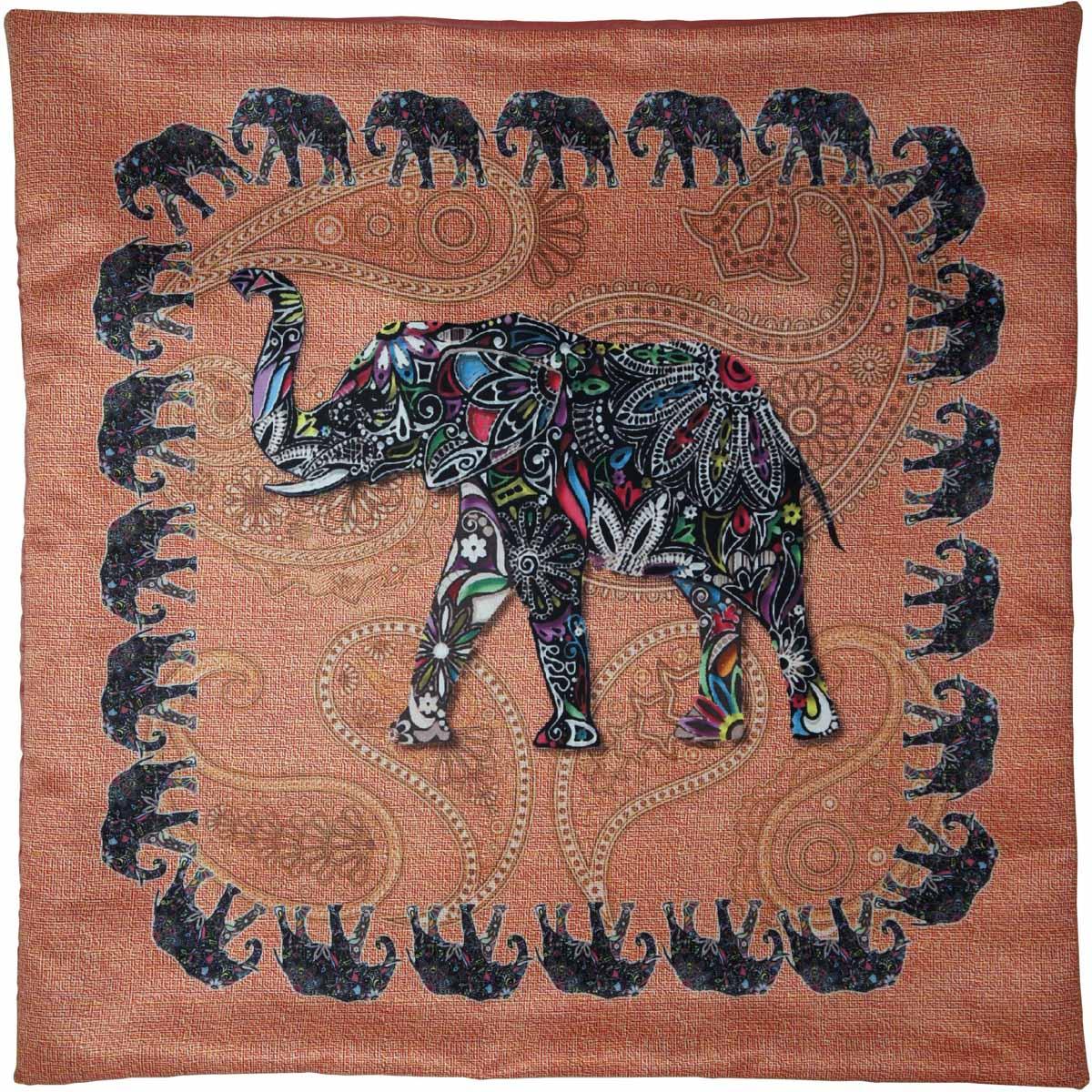 Наволочка для декоративной подушки GiftnHome Слон, цвет: персиковый, черный, 45 х 45 смНВЛ-45 Слон/персиковый/Изделие изготовлено из искусственного шелка - атласа! Наволочка на молнии