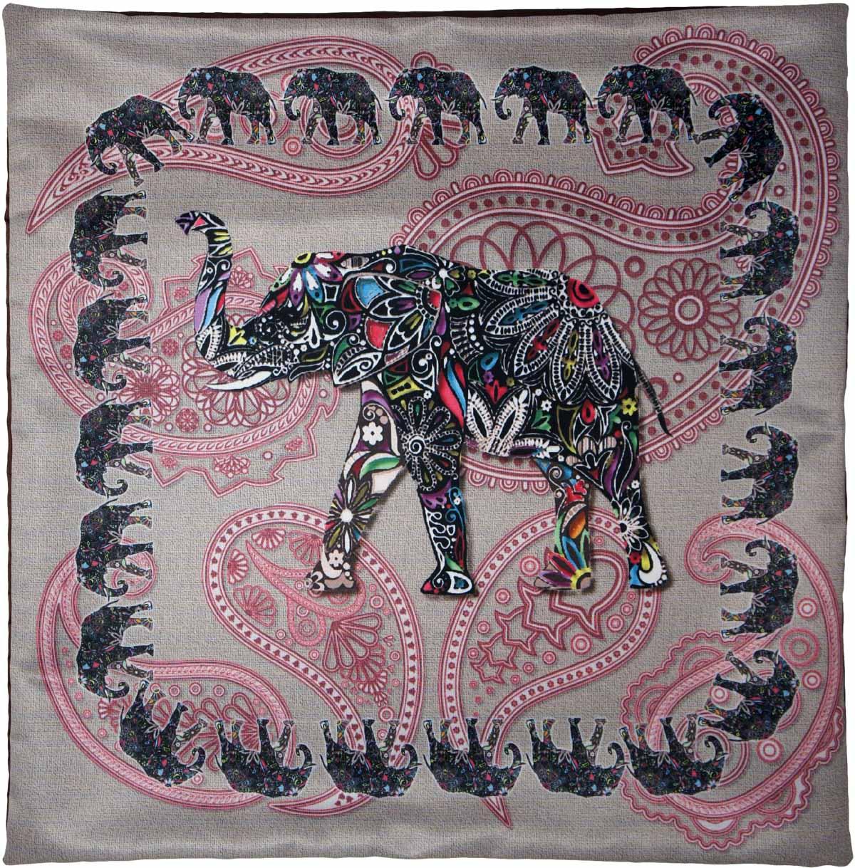Наволочка для декоративной подушки GiftnHome Слон, цвет: серый, розовый, черный, 45 х 45 смНВЛ-45 Слон/серый/Изделие изготовлено из искусственного шелка - атласа! Наволочка на молнии
