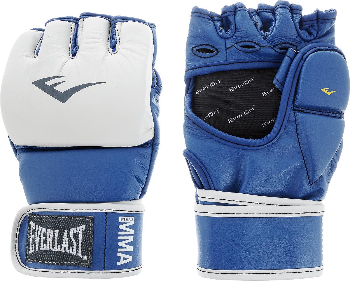 Перчатки тренировочные Everlast MMA Grappling, цвет: синий, белый. Размер S/M7684BLSMUТренировочные перчатки Everlast MMA Grappling предназначены для отработки захватов. Натуральная кожа высшего качества вкупе с превосходным дизайном гарантируют долговечность и функциональность. Перчатки идеально повторяют все анатомические изгибы кисти Защита большого пальца состоит из двух секций для большей свободы, швы на ладони значительно усилены. Обмотки с застежкой на липучке позволяют подогнать перчатки по вашей руке, а также обеспечивают максимальную фиксацию запястья.