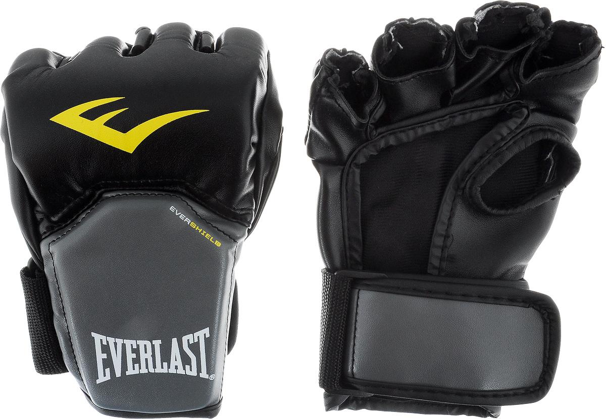 Перчатки для единоборств Everlast Competition Style MMA, цвет: черный, серый, желтый. Размер S/MP00000158Описание: Перчатки в полной мере отвечающие специфическим требованиям, предъявляемым к спортивному снаряжению MMA. Благодаря особенностям технологии Evershield – обеспечивается непревзойденная защита и комфорт тыльной стороны кисти — наиболее проблемной и травмируемой зоне. Ударная поверхность сделана немного изогнутой, что также позволяет максимально защитить костяшки в ударной зоне. Перчатки изготовлены из искусственной кожи класса премиум — которая прочнее и надежнее натуральной и довольно приятная на ощупь. Вес перчаток порядка 4х унций.