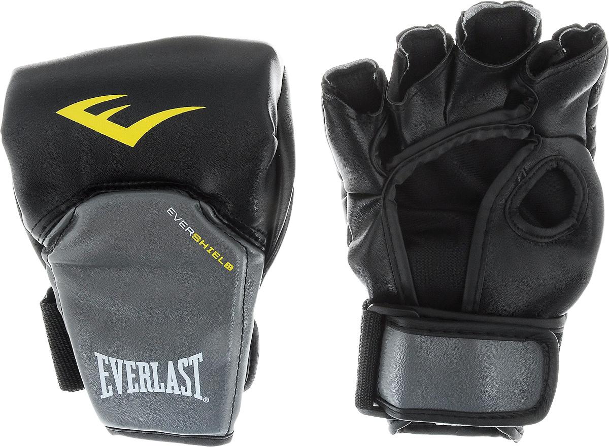 Перчатки для единоборств Everlast Competition Style MMA, цвет: черный, серый, желтый. Размер L/XLAIRWHEEL Q3-340WH-BLACKEverlast Competition Style MMA - это перчатки, в полной мере отвечающие специфическим требованиям, предъявляемым к спортивному снаряжению MMA. Благодаря особенностям технологии Evershield обеспечивается непревзойденная защита и комфорт тыльной стороны кисти — наиболее проблемной и травмируемой зоне. Ударная поверхность сделана немного изогнутой, что также позволяет максимально защитить костяшки в ударной зоне. Перчатки изготовлены из искусственной кожи класса премиум, которая прочнее и надежнее натуральной и довольно приятная на ощупь.