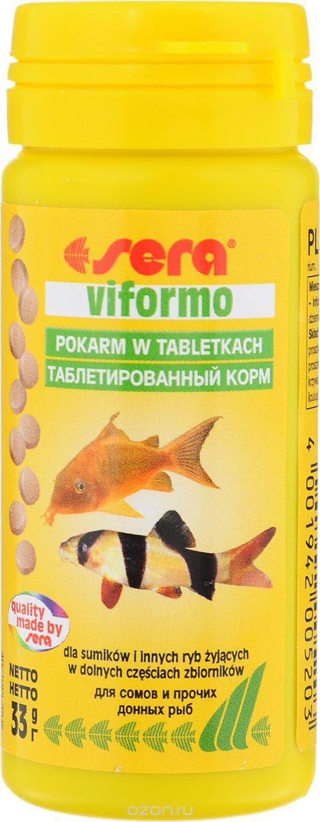Корм для рыб Sera Viformo, таблетированный, 130 таблеток0520Корм Sera Viformo - идеальный корм для рыб, которые предпочитают находится на дне аквариума. Корм, состоящий из легко усваиваемых таблеток, способствует здоровому развитию и жизнестойкости рыб. Таблетки при опускании на дно делятся на крохотные кусочки, что гарантирует соответствующее питание для рыб с маленьким ртом, например, панцирных сомов или гольцов. Кусочки корма остаются спрессованными и не загрязняют воду. Ингредиенты: рыбная мука, пшеничная мука, сухое молоко, пивные дрожжи, казеинат кальция, гаммарус, цельный яичный порошок, спирулина, морские водоросли, жир из печени рыбы, растительное сырье, люцерна, крапива, мука из зеленых губчатых моллюсков, петрушка, паприка, шпинат, морковь, чеснок. Аналитический состав: протеин 46,6%, жиры 8,9%, клетчатка 3,2%, влажность 5,6%, зольные вещества 11,3%. Содержание добавок: витамин A 30.000 lU/kg, витамин D3 1.500 lU/kg, витамин E (D, L-c-tocopheryl acetate) 60 mg/kg, витамин B1 30 mg/kg, витамин B2 90...