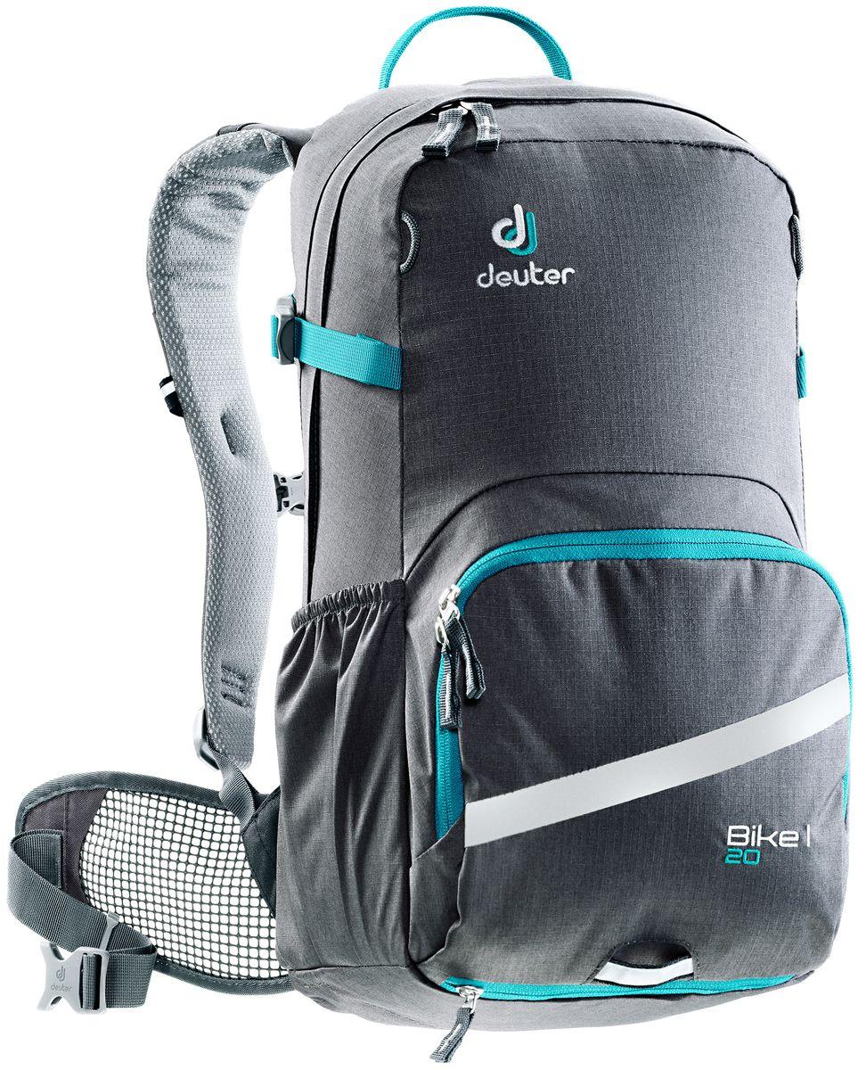 Рюкзак Deuter Bike I 20, цвет: голубой, темно-серый, 30 л3203317_4331- съемный держатель для шлема - прекрасная вентиляция, плотное прилегание к спине, благодаря системе Airstripes с регулируемыми стойками каркаса (Bike I 18 SL & 20) - максимальная вентиляция благодаря сетчатой FlexLite спинке AIRCOMFORT (Bike I Air EXP 16) - хорошо вентилируемые, легкие, сетчатые набедренные крылья пояса (Bike I 18 SL, Air EXP 16 & 20) - поясной ремень (Bike I 14) - чехол от дождя на молнии - удобные плечевые лямки с мягкими краями Soft-Edge - съемный, складывающийся дождевик - компрессионные ремни - большой карман на молнии с органайзером и карабинчиком для ключей и отделениями для мобильного телефона, бумажника, инструментов и т.д. - легкодоступное отделение на молнии для смартфона или карты на задней стороне - эластичные боковые карманы - большие 3M отражающие полосы на переднем кармане - светоотражающая петля для габаритного фонарика - отделение для влажной одежды - совместимость с питьевой системой ...