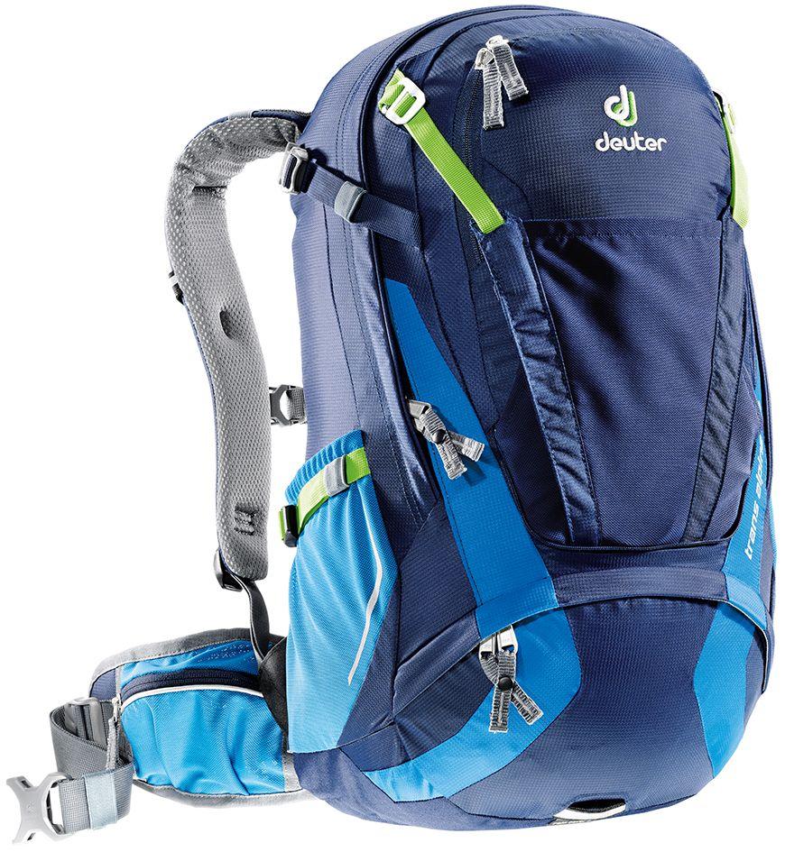 Рюкзак Deuter Trans Alpine 30, цвет: синий, темно-синий, 30 л10003340410Deuter полностью переработал модель Trans Alpine. Один из самых популярных рюкзаков стал стройнее, современнее и еще универсальнее. Теперь есть сетка на фронтальной части рюкзака, которую можно использовать не только для крепления шлема, но и для вещей. Есть легкодоступный карман для телефона. Большая молния открывает легкий доступ в основное отделение. Особенности: - легкодоступное отделение на молнии сзади для смартфона или карт;- прекрасная вентиляция, компактность и идеальная подгонка к спине - все эти качества, обеспеченные системой Airstripes и многочисленными регулировками;- плотная, точная посадка, благодаря объединению набедренных крыльев пояса, прикрепленных к обивке с Auto Compress System и Pull-Forward регулировками; - три основные зоны с разными материалами - мягкие материалы на лямках, воздушные - на спинке и гладкие - на набедренном поясе; - разделяемое основное отделение; - съемный чехол от дождя с кармашком для фонарика и со светоотражающими элементами; - удобные плечевые лямки с мягкими краями; - широкие вентилируемые набедренные крылья пояса с сетчатыми карманами на молнии; - ремни регулировки нагрузки; - универсальный, эластичный карман для шлема, куртки и т.д.; - передний карман на большой молнии с органайзером и внутренним отделением для ценных вещей; - компрессионные ремни;- 3M отражатели со всех сторон;- петля для воздушного насоса;- светлая подкладка позволяет легко разглядеть любую мелочь;- эластичные боковые карманы;- светоотражающая петля для габаритного фонарика; - совместимость с питьевой системой; - SOS лейбл; Вес: 1250 г.Объем: 30 л.Размеры: 54 x 28 x 24 см.Материал: Deuter-Ripstop 210/Macro Lite 210.