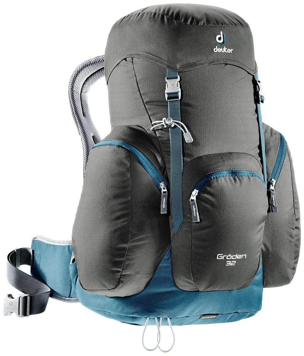 Рюкзак Deuter Groden 32, цвет: темно-коричневый, темно-синий, 32 л3430316_6311Туристический рюкзак классической модели -Просторные нижние боковые карманы и вместительный фронтальный карман -подвеска AirComfort -вентиляция подушек (Zugspitze); мягкие подушки пояса (Groeden) -лямки анатомической формы -Двойные замки позволяют надежно закрепить дополнительное снаряжение под верхним клапаном -Карман в клапане -Петли для треккинговых палок -Встроенный, съемный чехол от дождя -Материал: Ripstop-Polytex -Вес: 1170 g -Объем: 32 l -Размеры: В x Ш x Г: 55 x 42 x 28 см