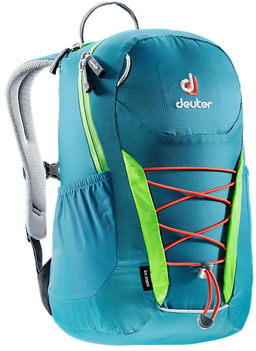 Рюкзак Deuter Gogo XS, цвет: голубой, салатовый, 13 л197180Детский вариант классического городского рюкзака Deuter Gogo подходит для детей от 5 лет и старше, для походов в бассейн или на занятия спортом. Анатомическая спинка и современный дизайн делают этот рюкзак одним из лучших для юного поколения. Особенности: - спина хорошо вентилируется благодаря системе Airstripes; - для детей в возрасте от 5 лет; - анатомические, мягкие плечевые лямки; - удобный доступ в основное отделение с 2-ходовой полукруглой молнией;- внешний карман на молнии;- эластичные боковые карманы;- плавно регулируемый грудной ремешок;- отделение для мокрых вещей;- эластичный шнур-стяжка на внешней стороне.Вес: 330 г.Объем: 13 л.Размеры: 39 x 23 x 17 см.Материал: Macro Lite 210.