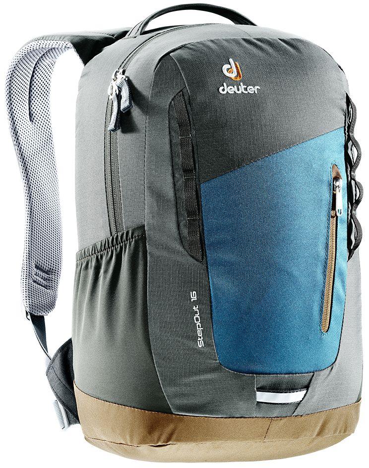Рюкзак Deuter StepOut 16, цвет: коричневый, темно-синий, 16 л3810315_3621- спинка Airstripes для великолепной вентиляции - очень комфортные, эргономичные, мягкие плечевые лямки - легкий доступ в основное отделение через двухходовую U-образную молнию - отделение для документов - отстегивающийся карабинчик для ключей - передний карман на молнии - эластичные боковые карманы - петля для габаритного фонарика - ручка для переноски - петли для навески - внутренний карман для мелких вещей Вес: 550 г Объем: 16 л Размеры: 45 x 26 x 16 см Материал: Super-Polytex/Macro Lite 210