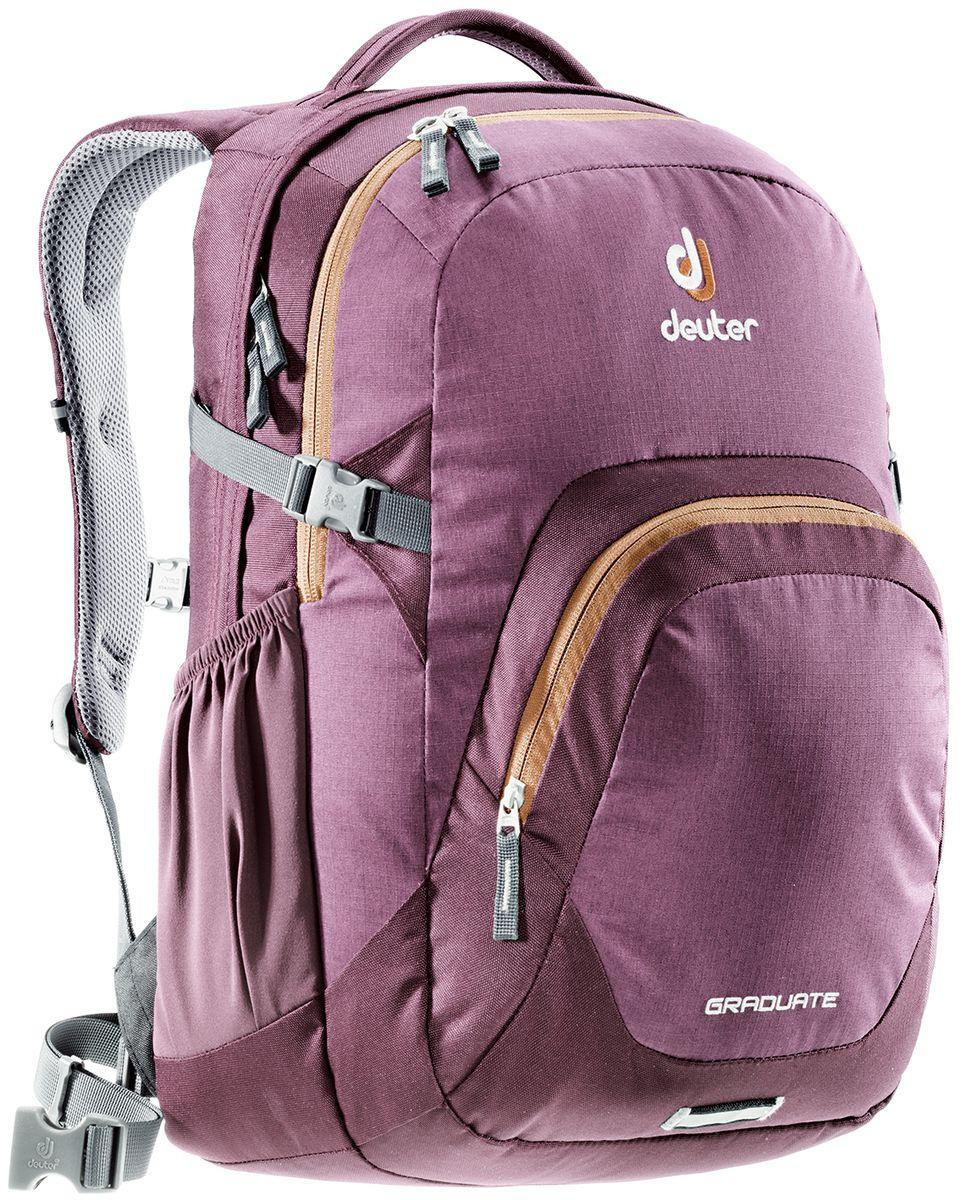 Рюкзак Deuter Daypacks Graduate, цвет: коричневый, фиолетовый, 28 лJSO-10304Новый рюкзак для работы, учебы и вообще для чего угодно. Загружайте его тяжелыми книгами, большими пакетами с перекусом, ноутбуком - Graduate вмещает все. Все это легко нести, благодаря продуманной анатомической спинке с мягкими подушками системы Airstripes. Особенности: Система подвески Airstripes; Анатомические мягкие плечевые лямки; Основной отсек под размер папки со встроенным мягким отделением под ноутбук 15,4; Просторное второе отделение; Большой фронтальный карман с органайзером; Эластичные боковые карманы; Фиксатор для фонарика безопасности с отражателем 3M; Мягкая ручка; Съемный поясной ремень; Нагрудный ремень; Компрессионные стропы. Размер рюкзака: 48 х 33 х 23 см.