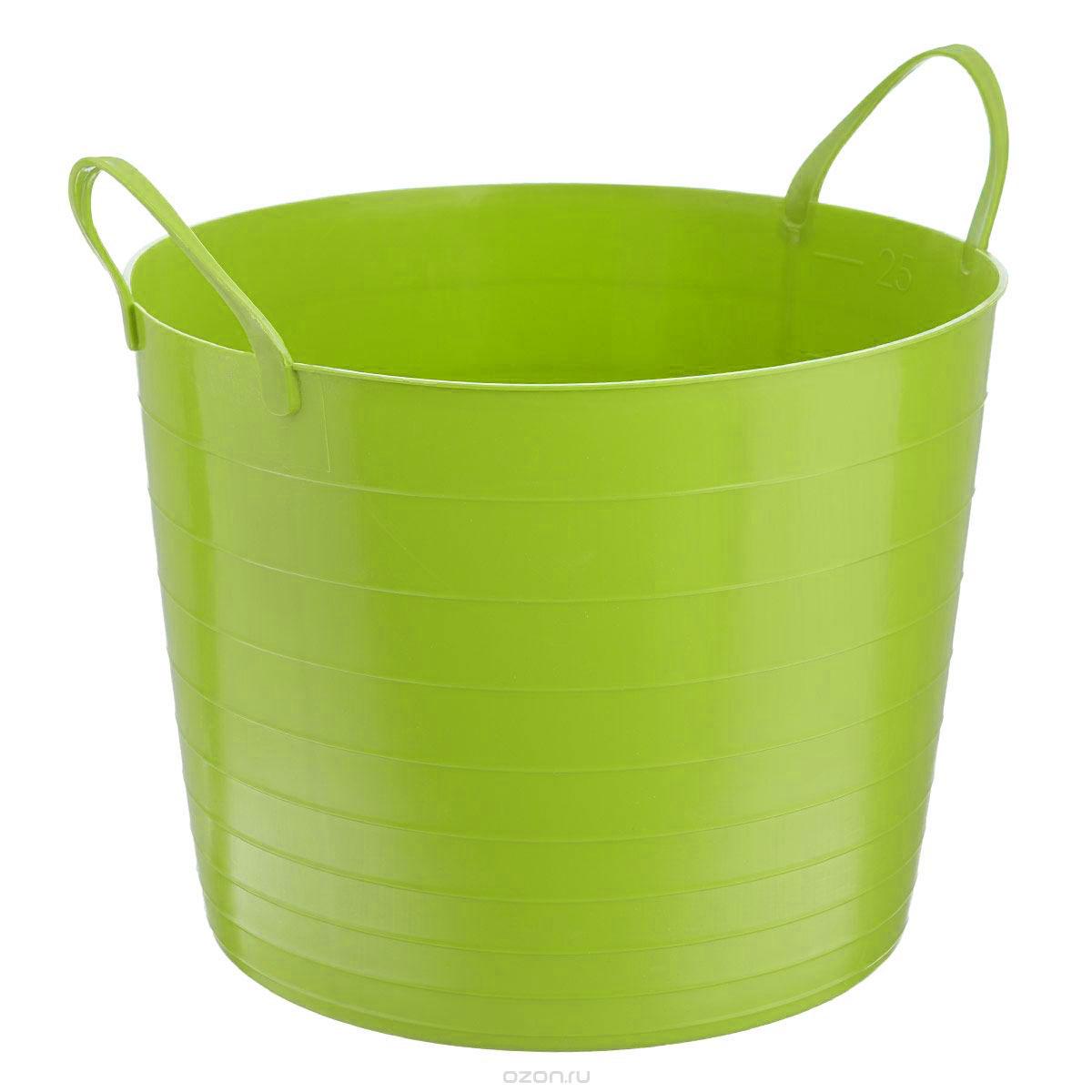 Корзина мягкая Idea, цвет: ярко-зеленый, 27 лМ 2881Мягкая корзина Idea изготовлена из гибкого пластика, оснащена двумя удобными ручками. Внутренняя поверхность имеет отметки литража. Размер (без учета ручек): 38 х 38 х 29,5 см.