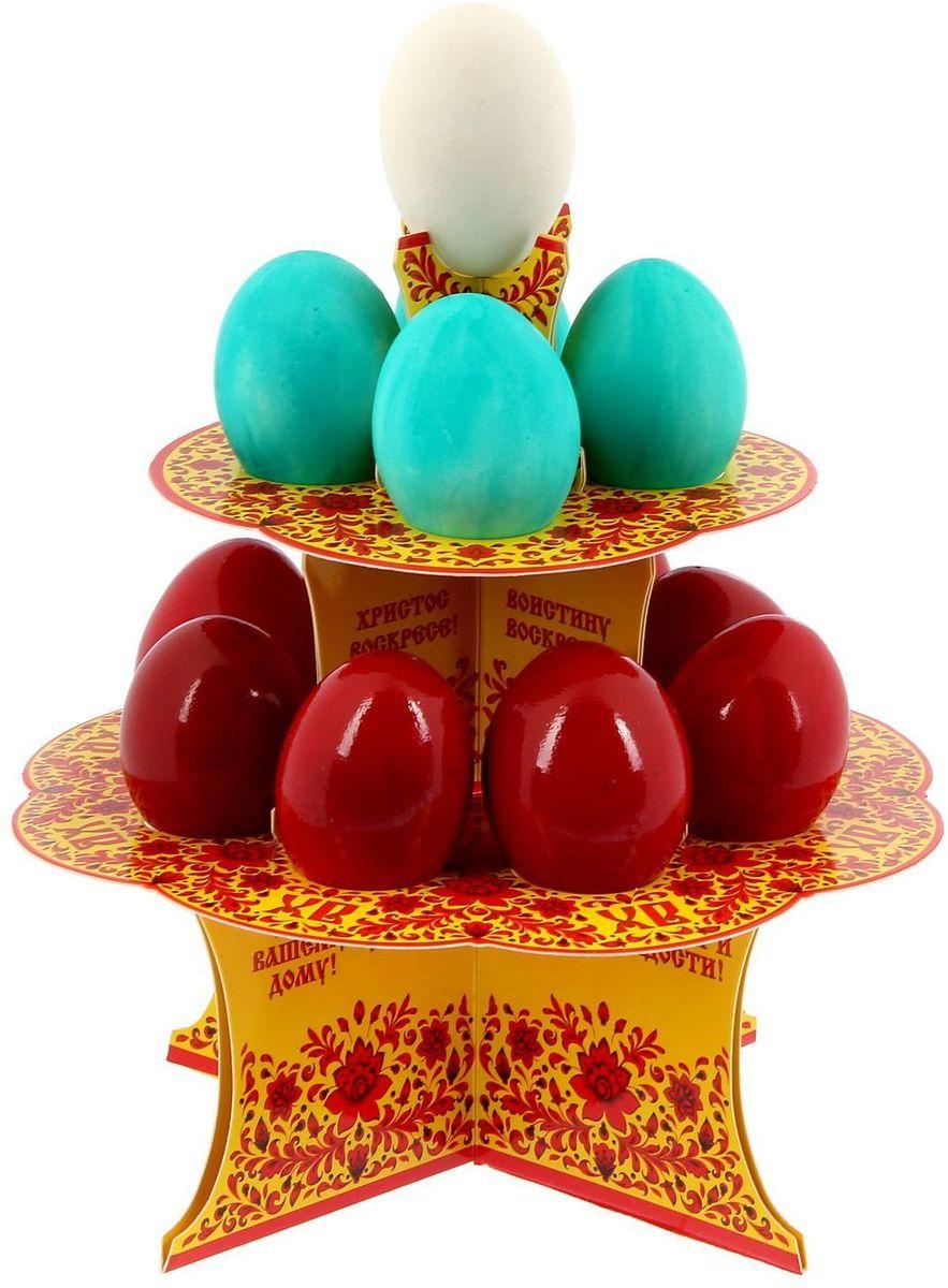 Подставка пасхальная ХВ. Под хохлому, на 12 яиц, 19,8 х 19,8 см. 12118121211812От хорошей кухонной утвари зависит половина успеха вкусного блюда. Чтобы еда была вкусной, важно ее правильно приготовить и сервировать. Подставка пасхальная со скретч-слоем на 12 яиц поможет вам в этом деле.