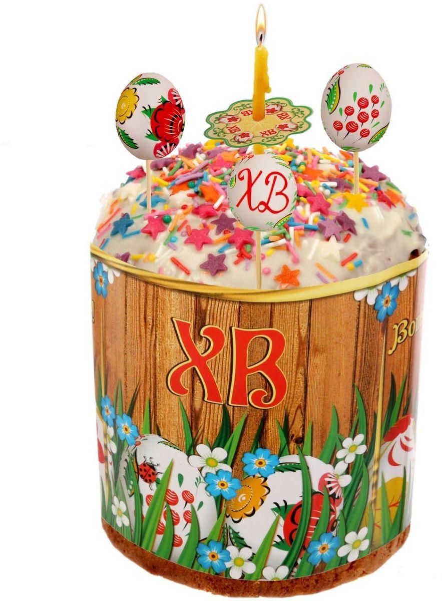 Пасхальный набор ХВ. Яйца, 9,6 х 13,8 см. 16202281620228Радости, добра и света вам и вашим близким! Пасхальный набор поможет без труда оформить праздничный стол и создать торжественное настроение у вас и у гостей. В набор входит: шпажка — 5 шт.; ободок для кулича; манжета для свечи — 4шт. Шпажки с декоративными элементами украсят кулич и сделают лакомство особенным. Ободок защитит угощение от маленьких ручек, которые так и норовят отщипнуть кусочек. Его размер регулируется, поэтому изделие подходит для больших и маленьких куличей. Манжеты спасут руки и окружающие предметы от воска горящих свеч.