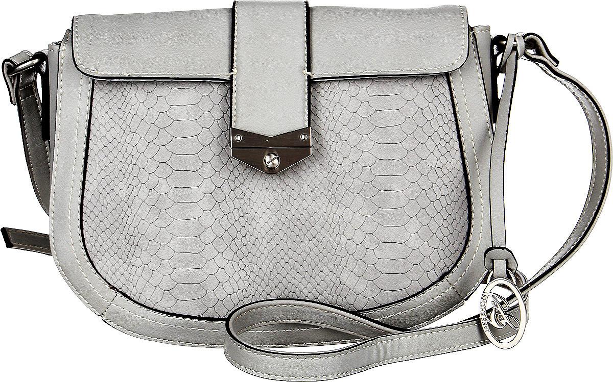 Сумка женская Jane Shilton, цвет: серый. 22872287greyЭффектная сумочка Jane Shilton выполнена из искусственной кожи. У модели застежка-клапан на магните. Внутри кармашек на молнии и для мобильного телефона. Ремень регулируемый. Сзади карман на молнии.