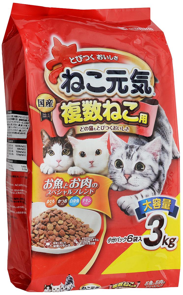 Корм сухой Unicharm Cat Genki для взрослых кошек, с курицей и тунцом, 3 кг689745Сухой корм для взрослых кошек Unicharm Cat Genki это полноценный рацион для вашего питомца. Восхитительные ароматные гранулы представляют собой смесь курицы, тунца и скумбрии, содержат все необходимые микроэлементы и питательные вещества для поддержания отличной физической формы животного. Корм специально разработан для укрепления основных защитных систем кошки - иммунной, пищеварительной, выделительной. Содержание такого важного компонента, как таурин, предотвращает появление проблем зрения у кошки, защищает сердце и легкие. Корм служит профилактикой заболеваний мочевыводящих путей у кошек поддерживает репродуктивную деятельность животного. Товар сертифицирован.