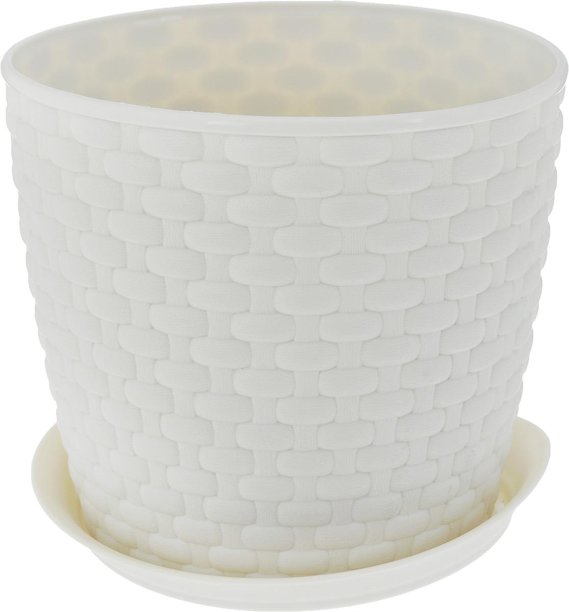 Кашпо Idea Ротанг, с поддоном, цвет: экрю, 2 лZ-0307Кашпо Idea Ротанг изготовлено из высококачественного пластика. Специальный поддон предназначен для стока воды. Изделие прекрасно подходит для выращивания растений и цветов в домашних условиях. Лаконичный дизайн впишется в интерьер любого помещения. Диаметр поддона: 15,5 см. Объем кашпо: 2 л.Диаметр кашпо по верхнему краю: 15,5 см.Высота кашпо: 13,5 см.