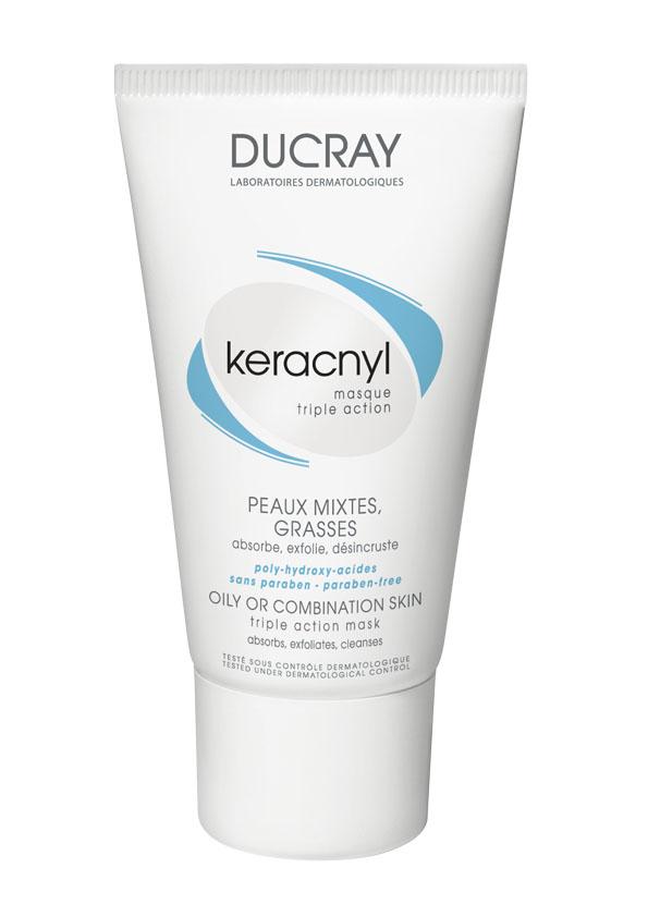 Ducray Маска Keracnyl тройного действия 40 млC18630Жирная или комбинированная кожа Маска тройного действия Keracnyl (Керакнил) специально разработанная для жирной или комбинированной кожи и сочетает в себе маску двойного действия и скраб. • Глина абсорбирует излишки кожного сала; • Соединение глины и полигидроксикислот глубоко очищает поры • Микрочастицы полиэтиленового воска оказывают механическое очищающее действие