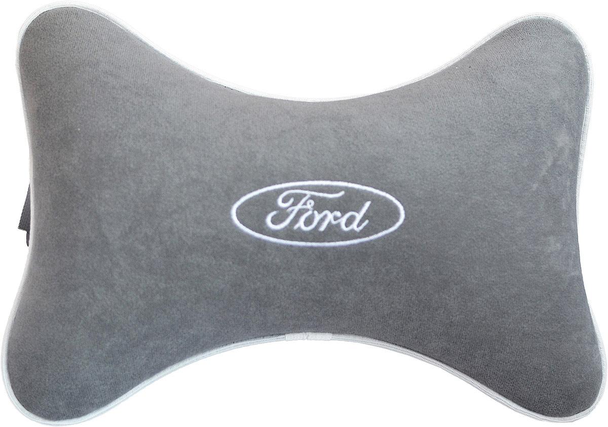 Подушка на подголовник Auto Premium Ford , цвет: серый. 3744437444Подушка на подголовник - это прежде всего лучший способ создать комфорт для шеи и головы во время пребывания в автомобильном кресле. Большинство штатных подголовников устроены так, что до них попросту не дотянуться. Данный аксессуар полностью решает эту проблему, создавая мягкую ортопедическою поддержку. Подушка крепится к сиденью, а это значит один раз поставил - и забыл. Меньше утомляемость - а следовательно выше внимание и концентрация на дороге. Одинакова удобна для пассажира и водителя. Подушка выполнена из велюра.