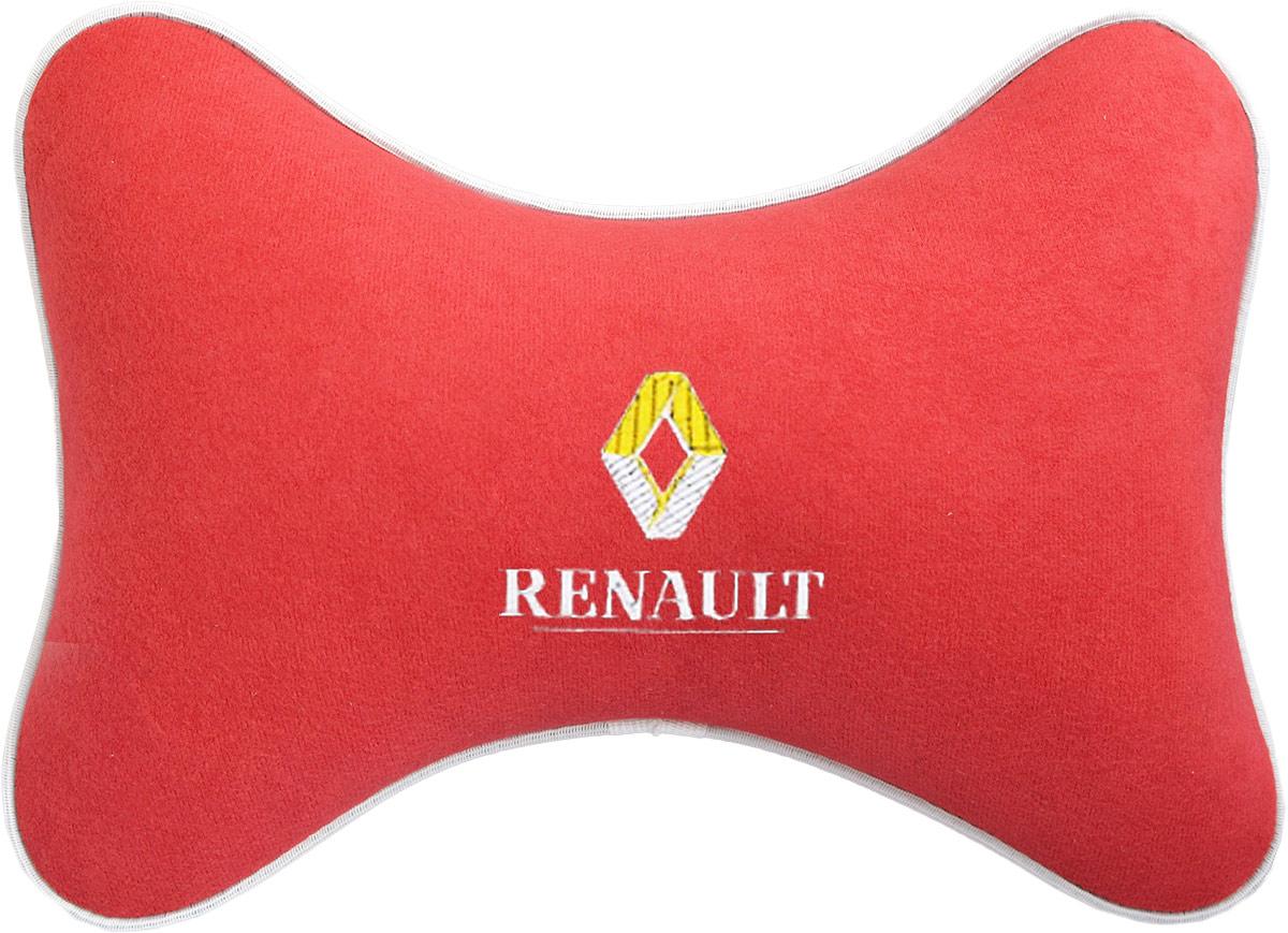 Подушка на подголовник Auto Premium Renault, цвет: красный. 3747037470Подушка на подголовник - это прежде всего лучший способ создать комфорт для шеи и головы во время пребывания в автомобильном кресле. Большинство штатных подголовников устроены так, что до них попросту не дотянуться. Данный аксессуар полностью решает эту проблему, создавая мягкую ортопедическою поддержку. Подушка крепится к сиденью, а это значит один раз поставил - и забыл. Меньше утомляемость - а следовательно выше внимание и концентрация на дороге. Одинакова удобна для пассажира и водителя. Подушка выполнена из велюра.