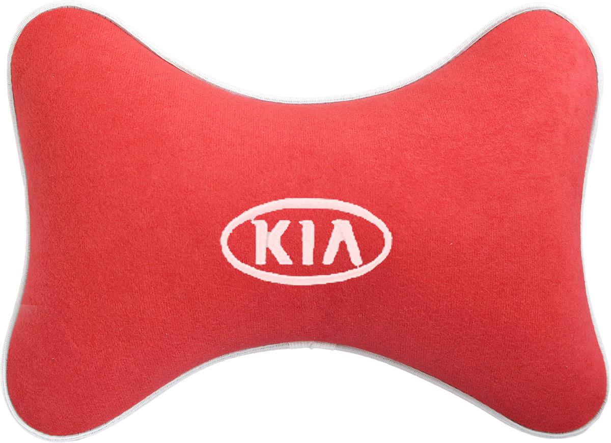 Подушка на подголовник Auto Premium Kia, цвет: красный. 3747137471Подушка на подголовник - это прежде всего лучший способ создать комфорт для шеи и головы во время пребывания в автомобильном кресле. Большинство штатных подголовников устроены так, что до них попросту не дотянуться. Данный аксессуар полностью решает эту проблему, создавая мягкую ортопедическою поддержку. Подушка крепится к сиденью, а это значит один раз поставил - и забыл. Меньше утомляемость - а следовательно выше внимание и концентрация на дороге. Одинакова удобна для пассажира и водителя. Подушка выполнена из велюра.