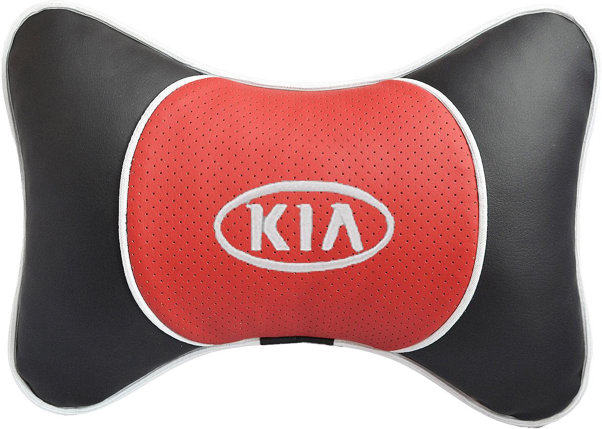 Подушка на подголовник Auto Premium Kia, цвет: красный. 3757180621Подушка на подголовник Люкс выполнена из черной гладкой экокожи, вставка из красной перфорированной экокожи имеет обрамление мягким кантом. Для нанесения вышивки используются высококачественные итальянские нитки. Подушка на подголовник - это прежде всего лучший способ создать комфорт для шеи и головы во время пребывания в автомобильном кресле. Такая подушка будет удобна как водителю, так и пассажиру. При производстве используются высококачественные, износостойкие материалы и гипоаллергенные наполнители.