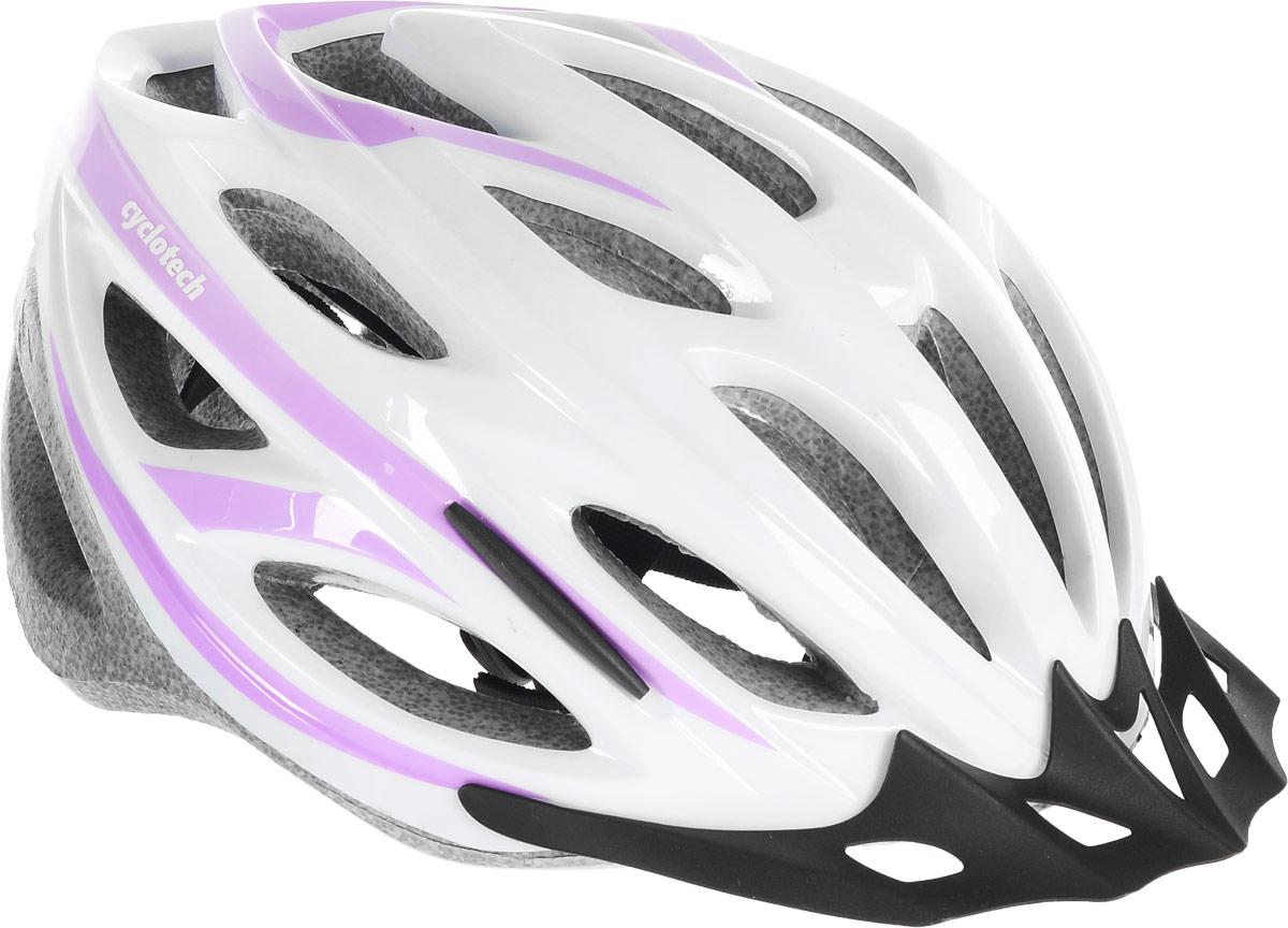Шлем велосипедный Cyclotech, цвет: белый, сиреневый. Размер LMW-1462-01-SR серебристыйЖенский велосипедный шлем Cyclotech изготовлен по технологии OutMold, которая обеспечивает хорошее сочетание невысокой цены и достаточной технологичности. Увеличенное количество вентиляционных отверстий гарантирует отличную циркуляцию воздуха при любой скорости передвижения, сохраняя при этом жесткость шлема. Шлем соответствует международным стандартам безопасности и надежности. Шлем выполнен из прочного вспененного пенопласта.Обхват головы: 55-59 см