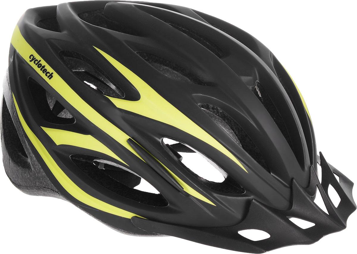 Шлем велосипедный Cyclotech, цвет: черный, зеленый. Размер LCHHY15MМужской велосипедный шлем Cyclotech изготовлен по технологии OutMold, которая обеспечивает хорошее сочетание невысокой цены и достаточной технологичности. Увеличенное количество вентиляционных отверстий гарантирует отличную циркуляцию воздуха при любой скорости передвижения, сохраняя при этом жесткость шлема. Шлем соответствует международным стандартам безопасности и надежности. Шлем выполнен из прочного вспененного пенопласта. Обхват головы: 55-59 см