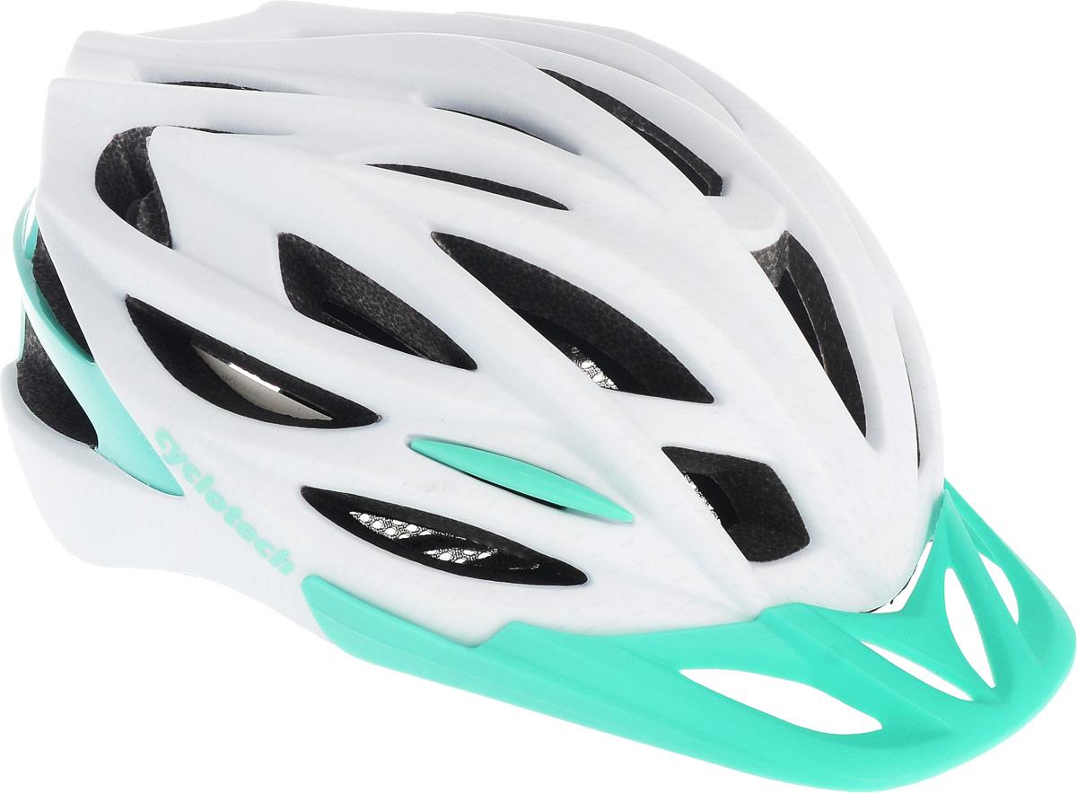 Шлем велосипедный Cyclotech, цвет: белый, изумрудный. Размер MCRL-1Женский велосипедный шлем продвинутого уровня Cyclotech изготовлен по современной технологии Inmold. За счет применения данной технологии шлем становится значительно более устойчивым к боковым и фронтальным ударам, как тупыми, так и острыми предметами (камни, скальные породы). Улучшенная система вентиляции. Шлем соответствует международным стандартам безопасности и надежности.Обхват головы: 54-58 см.