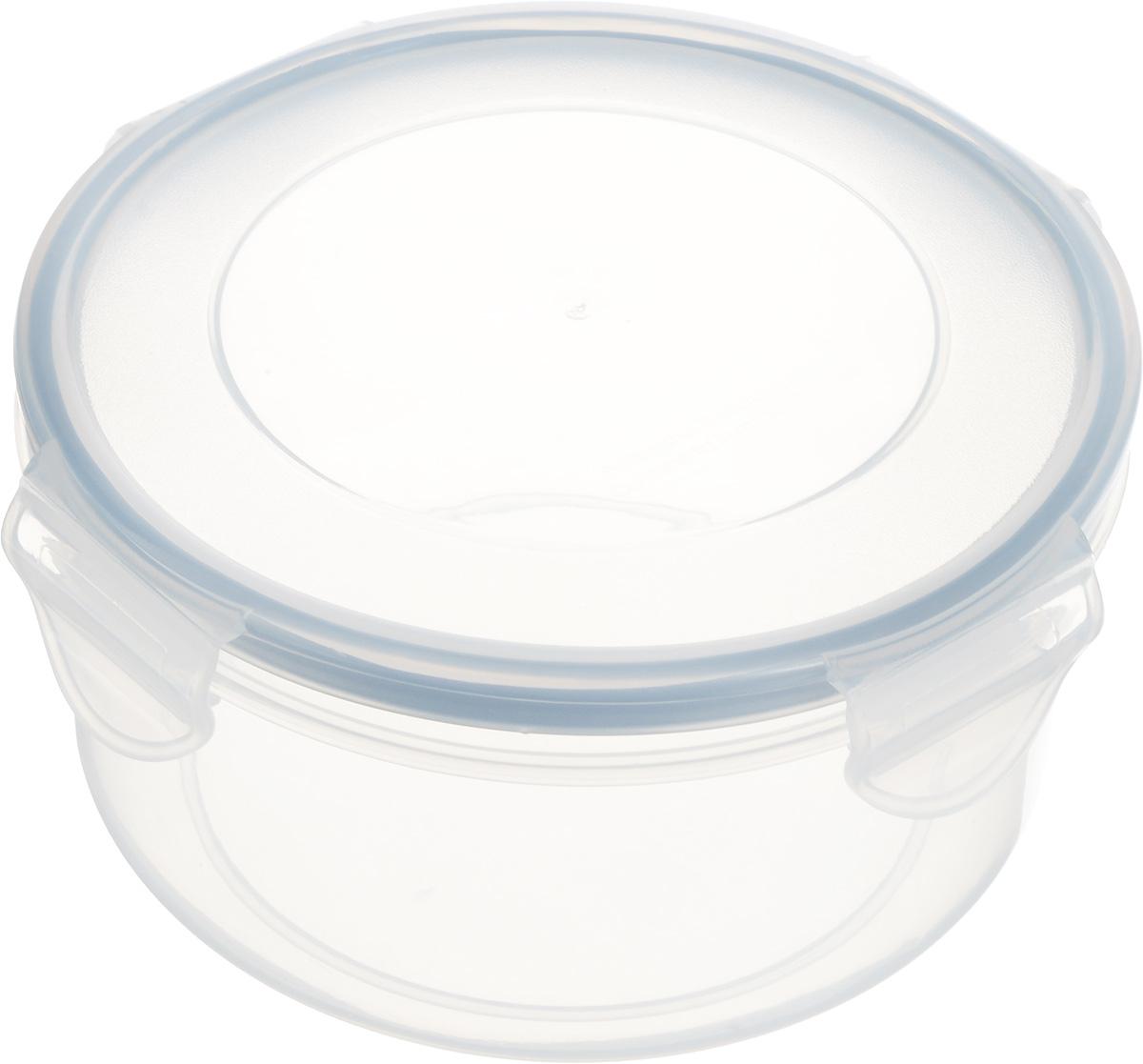 Контейнер Tescoma Freshbox, круглый, 0,8 л892112Круглый контейнер Tescoma Freshbox изготовлен из высококачественного пластика. Изделие идеально подходит не только для хранения, но и для транспортировки пищи. Контейнер имеет крышку, которая плотно закрывается на 4 защелки и оснащена специальной силиконовой прослойкой, предотвращающей проникновение влаги и запахов. Изделие подходит для домашнего использования, для пикников, поездок, отдыха на природе, его можно взять с собой на работу или учебу. Можно использовать в СВЧ-печах, холодильниках и морозильных камерах. Можно мыть в посудомоечной машине. Диаметр контейнера (без учета крышки): 14 см. Высота контейнера (без учета крышки): 7 см.