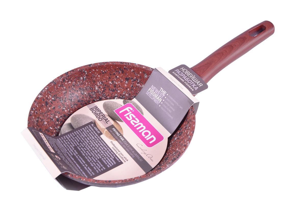 Сковорода Fissman Imperial Bordo, с антипригарным покрытием. Диаметр 20 смAL-4350.20Сковорода Fissman Imperial Bordo изготовлена из литого алюминия с многослойным антипригарным покрытием EcoStone, которое усилено вкраплением каменных частиц. Первый слой улучшает сцепление покрытия с металлом, второй слой - грунтовый, третий слой - более прочное покрытие на основе минеральных компонентов, четвертый слой - высокопрочное антипригарное покрытие, усиленное вкраплением каменных частиц, пятый дополнительный антипригарный слой с керамическими частицами. Главное преимущество покрытия - это устойчивость к царапинам и износу. Также покрытие безопасно для здоровья человека и окружающей среды. Утолщенное дно сковороды рационально распределяет тепло, что позволяет продуктам готовиться быстро и равномерно. Приятная на ощупь ручка из бакелита не нагревается и не скользит в руках. Посуда серии Imperial Bordo - это уникальный модный дизайн и непревзойденное качество. Подходит для газовых, электрических, стеклокерамических, индукционных плит. Можно мыть в...