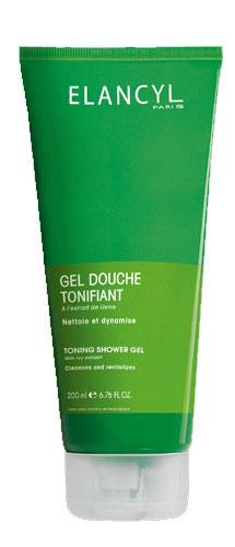 Elancyl Тонизирующий гель для душа, 200 млC00988Нежно очищает кожу, тонизирует, стимулирует дренажные процессы в тканях. Может использоваться как пена для ванны.