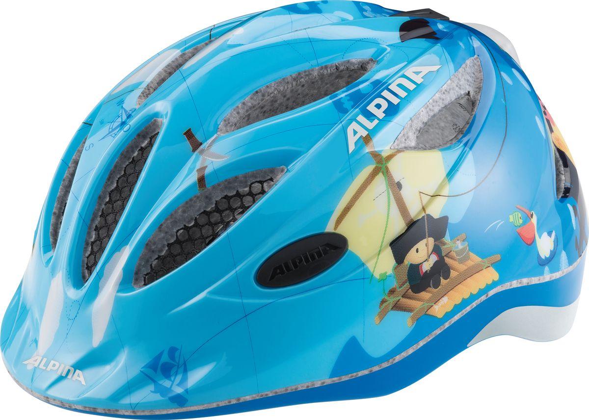 Шлем летний Alpina Gamma 2.0 Flash pirate, цвет: голубой. A9660084. Размер 46/51A9660084Наилучшая защита для маленьких велосипедистов. Размер:46-51, 51-56 см.