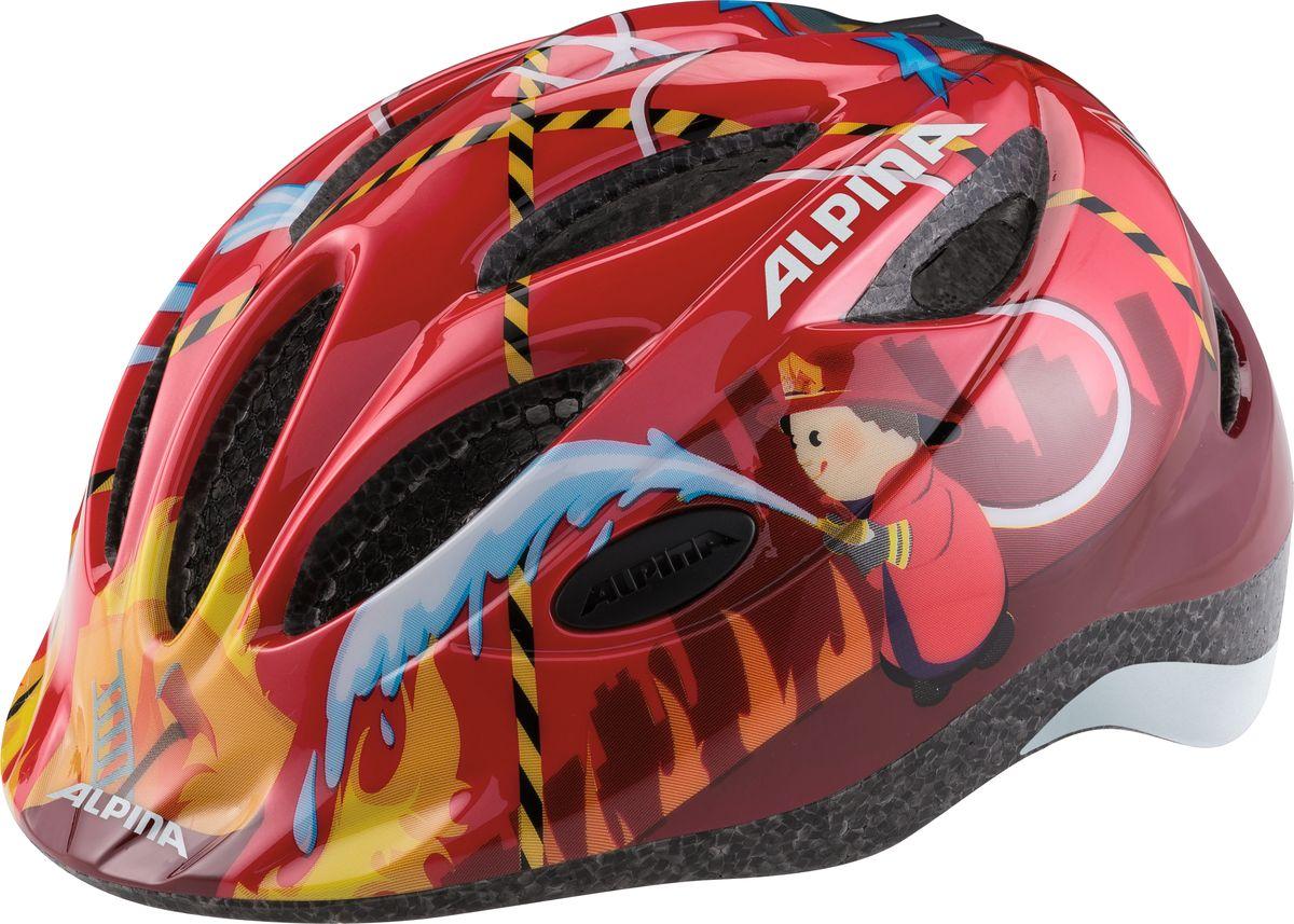 Шлем летний Alpina Gamma 2.0 red firefighter, цвет: красный. A9658054. Размер 46/51A9658054Наилучшая защита для маленьких велосипедистов. Размер:46-51, 51-56 см.