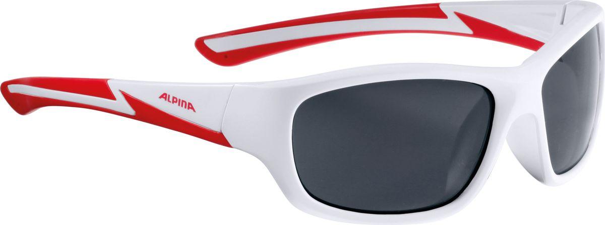 Очки солнцезащитные Alpina Flexxy Youth, цвет: красный, белый. 85644108564410Детские очки с линзами, устойчивыми к разбиванию. Градация очков по подростковым, юниорским и детским, а также специальная модель для девочек. Технологии: Optimized airflow, 2 components design, Flexible Frame.
