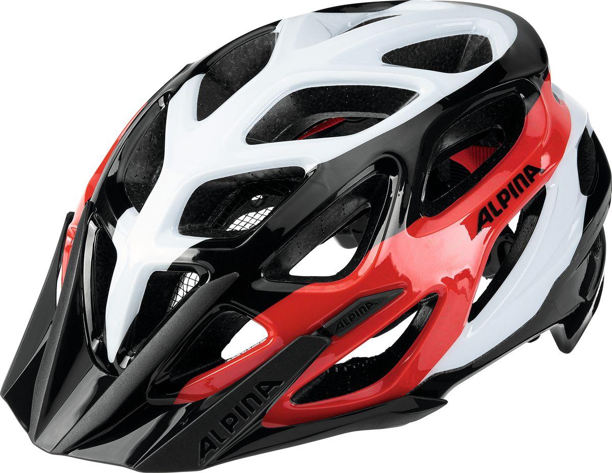 Шлем летний Alpina Mythos 2.0, цвет: черный, белый, красный. A9672131. Размер 52/57A9672131Топовый велошлем Alpina Mythos 2.0 обеспечивает наилучшую защиту и комфорт. Абсолютный бестселлер Mythos 2.0 в новом дизайне. Матовое верхнее покрытие Ceramic Shell и покрытая мягкой резиной система регулировки. 25-вентиляционных отверстий. Технологии: Run System Ergo Pro, Ceramic Shell, Shield Protect. Вес: 250 г. Легкий и аэродинамический дизайн Углубленная затылочная часть Улучшенная система вентиляционных отверстий Защитная сетка в передней части Новый тип соединения внутренней части шлема и оболочки maxSHELL Поворотный механизм Quick Save для регулировки и подгонки шлема по размеру Ременная застежка-букля с возможностью быстрой подгонки ремешков Съемный козырек Конструкция: In-Mould Technology Светоотражающие элементы.