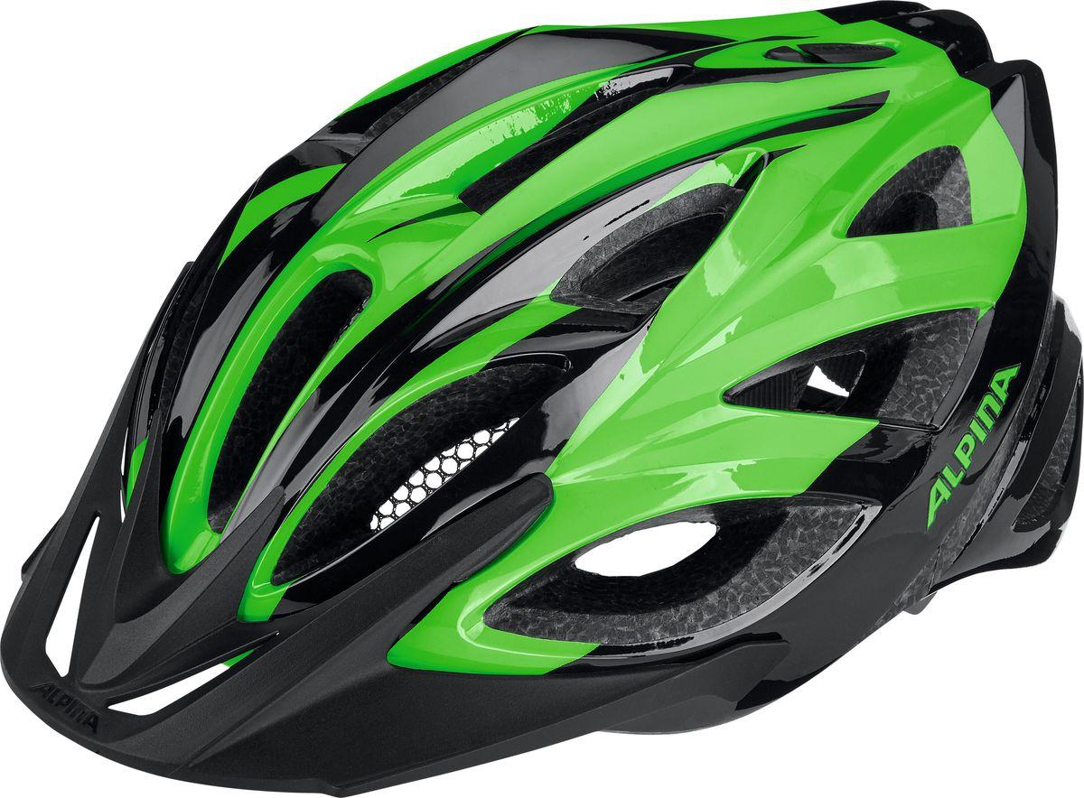 Шлем летний Alpina Seheos, цвет: зеленый, черный. A9714130. Размер 55/59A9714130Правильный комфортный шлем для вело туризма. Удобная мягкая регулировка размера.